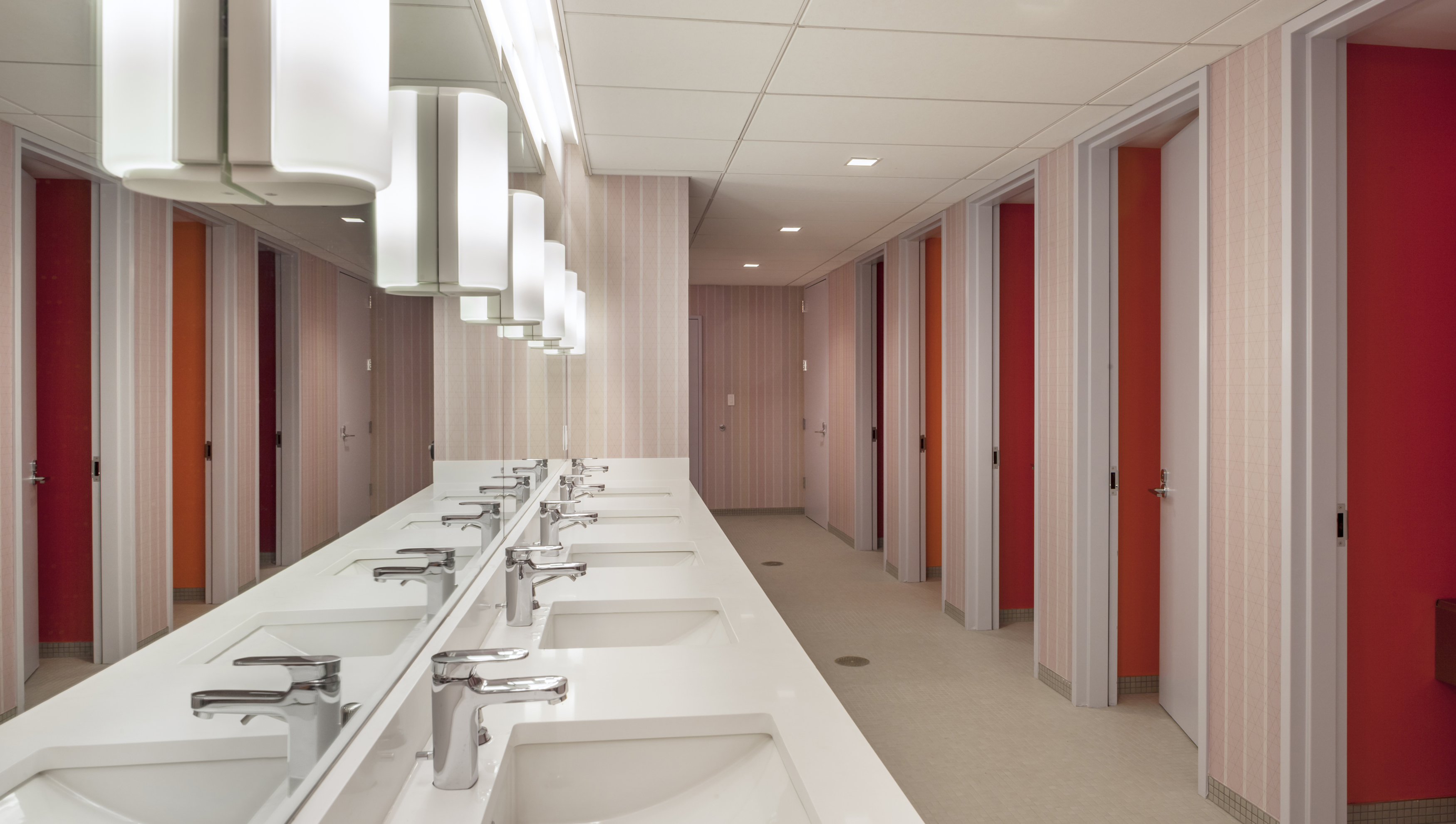An example of gender-inclusive bathrooms at Congregation Beit Simchat Torah in New York City, designed by the Architecture Research Office.