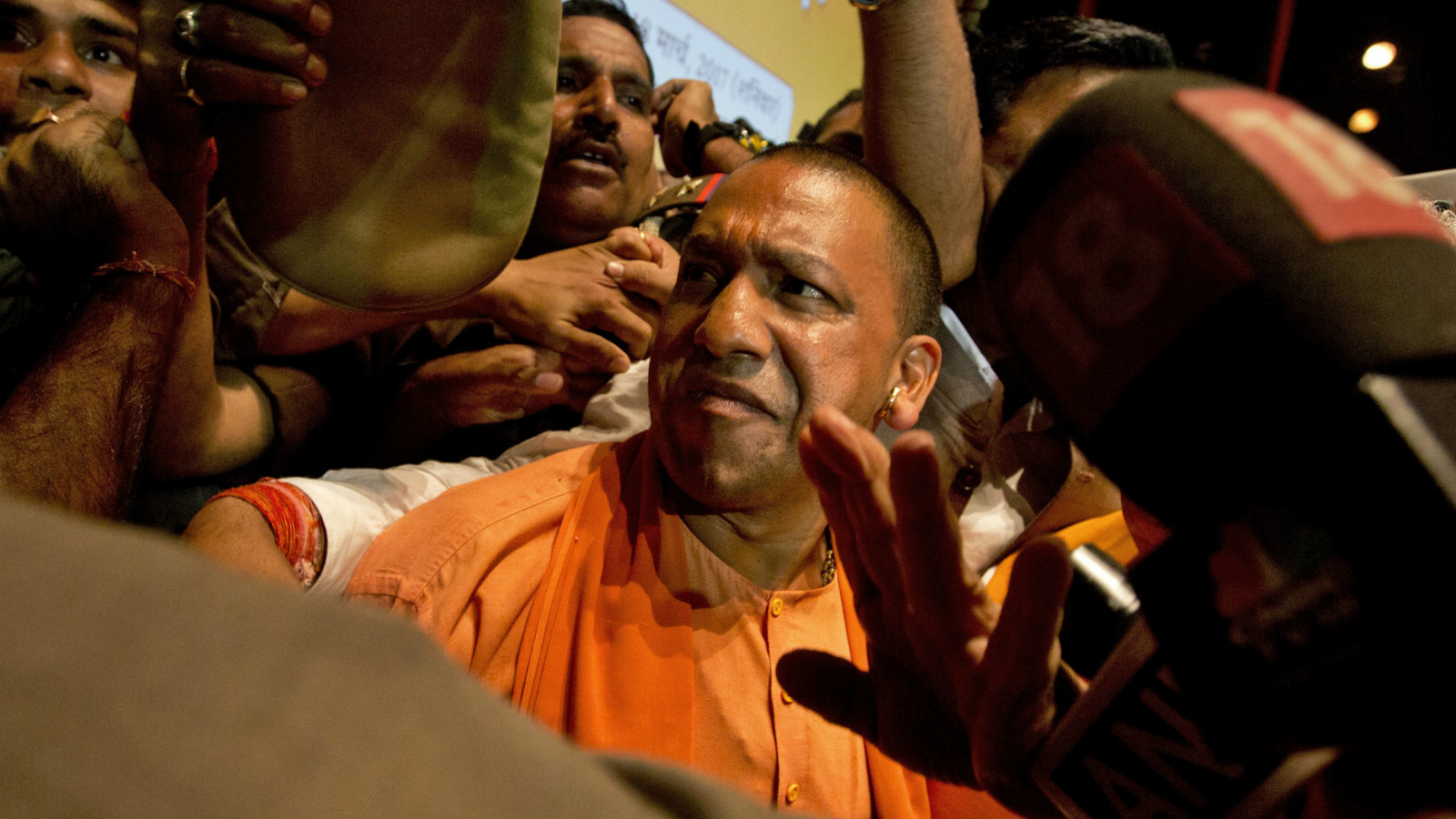 Adityanath just after he was elected leader of the BJP Uttar Pradesh state legislature party in Lucknow, India.
