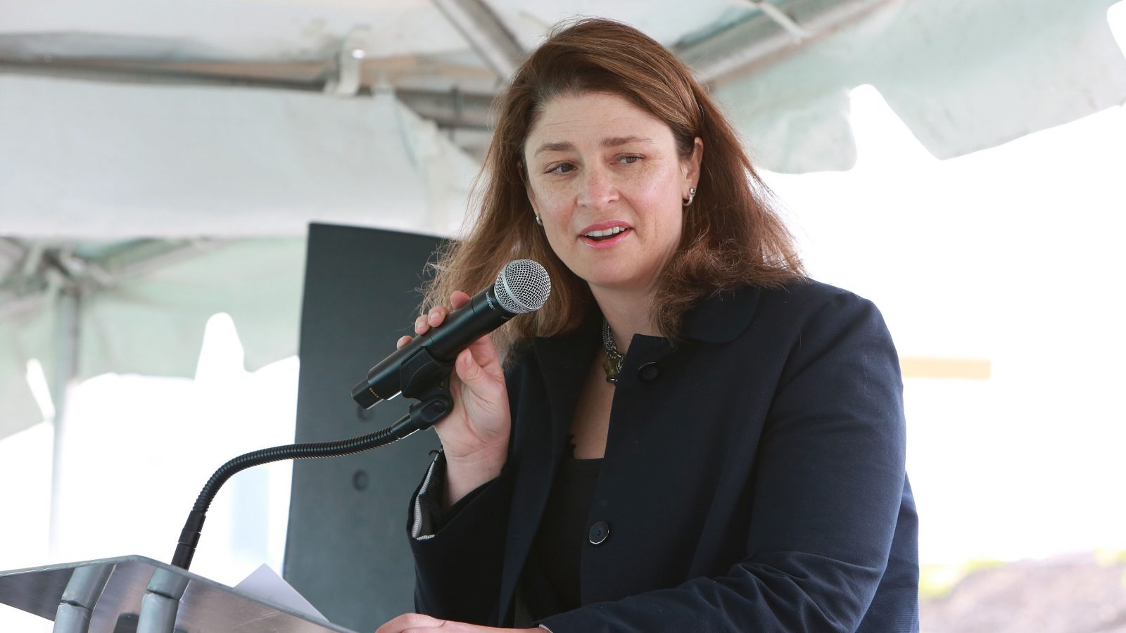 Deputy Mayor Alicia Glen speaks at the Dock 72 groundbreaking ceremony held at the Brooklyn Grange on Thursday, May 5, 2016 in Brooklyn, NY. (Photo by Amy Sussman/AP Images for Rudin Development)