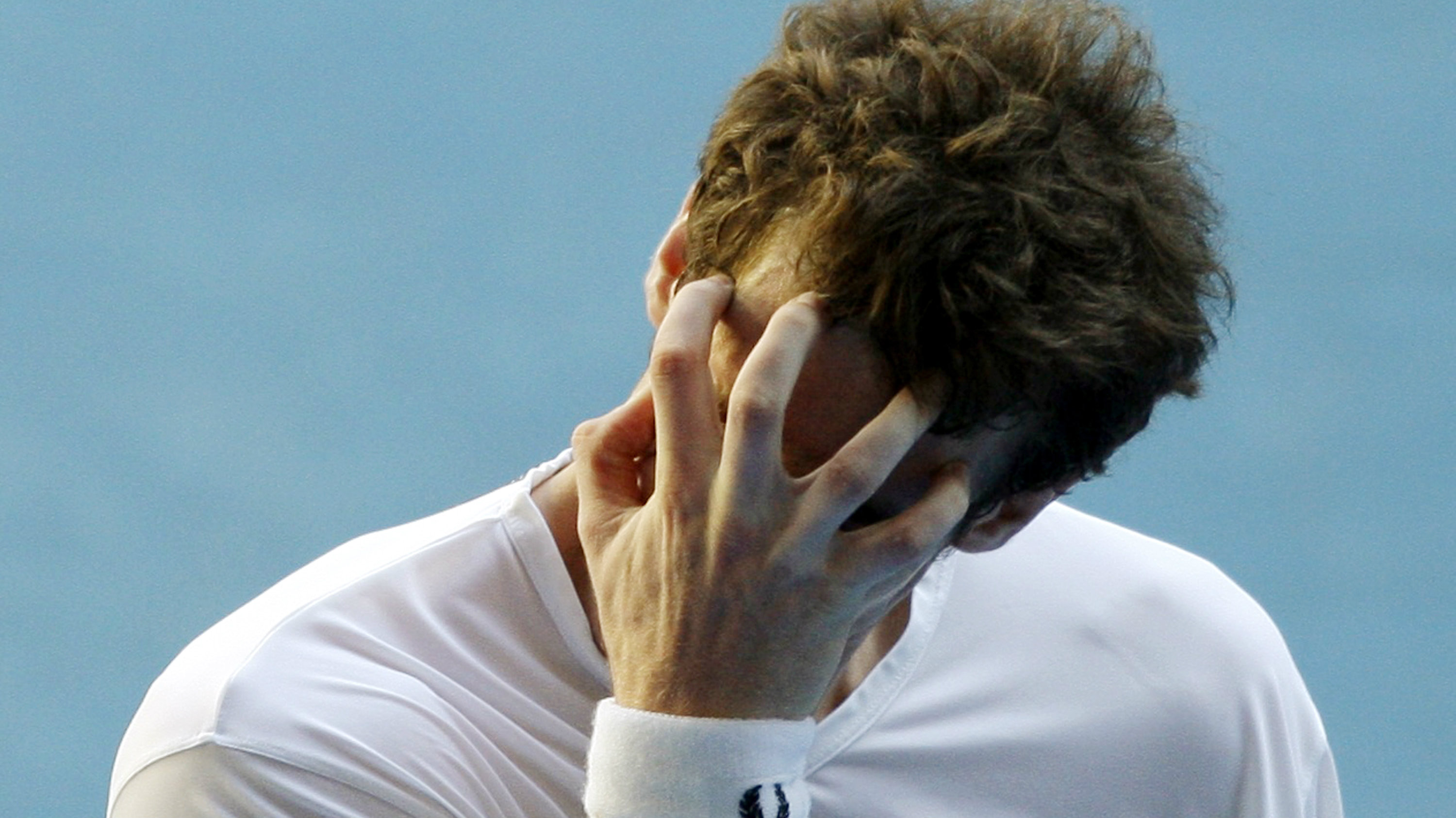 Britain's Andy Murray reacts after losing a point during his match against Spain's Fernando Verdasco...