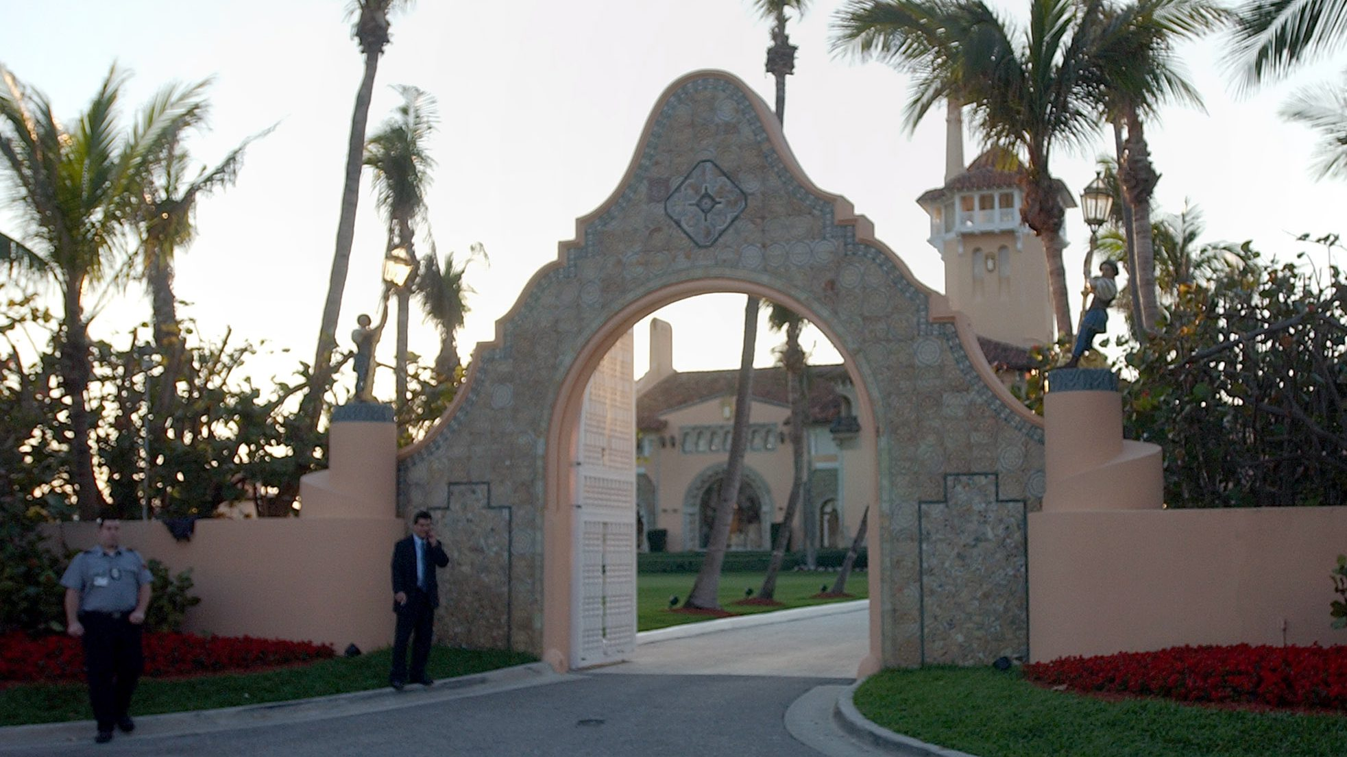 The entrance of Mar-a-Lago, where the reception will take place after the wedding of Donald Trump and Melania Knauss  Friday, Jan. 21, 2005 in West Palm Beach, Fla. The wedding will be held on Saturday, Jan. 22, 2005. (AP Photo/Alan Diaz)