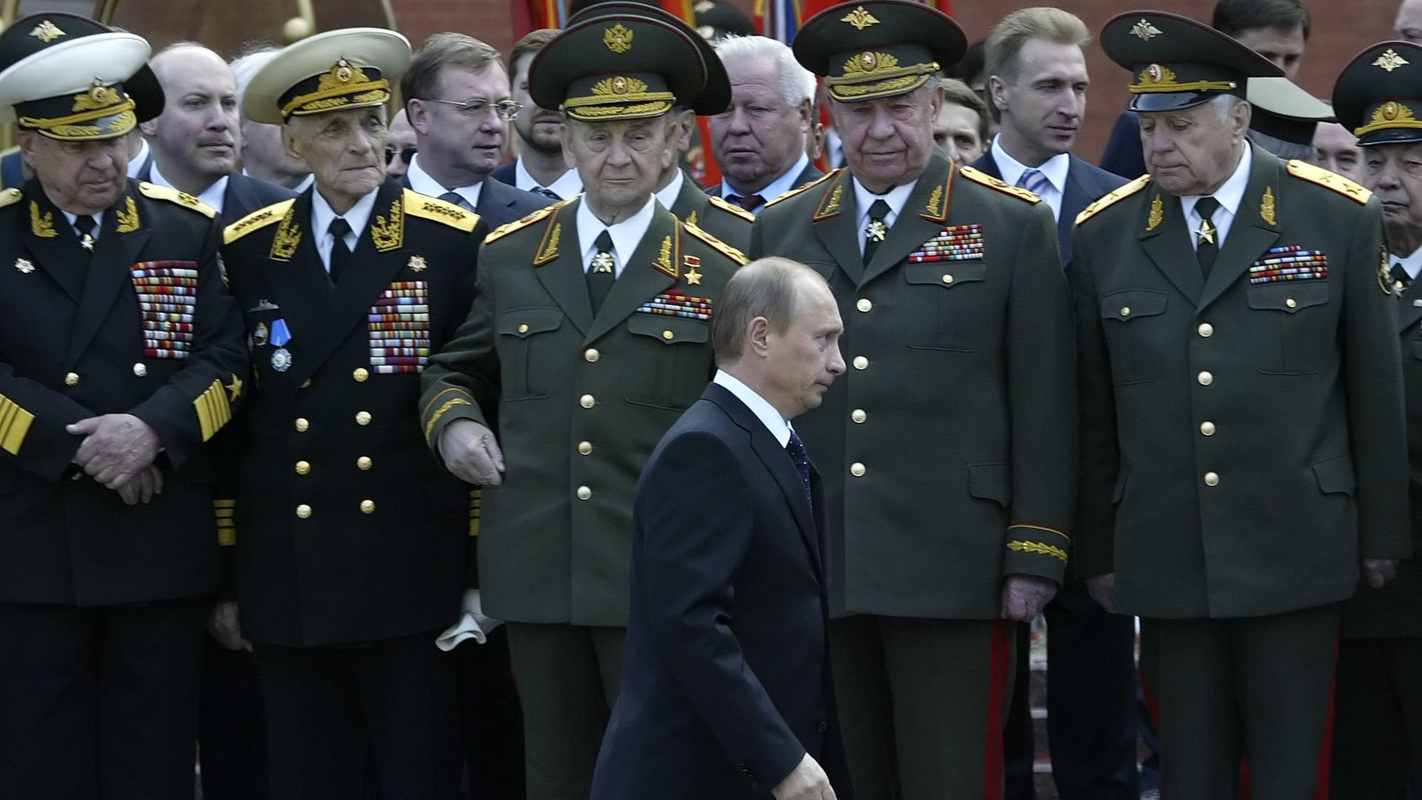 Russian President Vladimir Putin attends a wreath laying ceremony at Russia's Tomb of the Unknown Soldier to mark the upcoming Victory Day, in Moscow, Monday, May 8, 2006. Russia celebrates the Red Army's victory over the Nazis on May 9. (AP Photo/Misha Japaridze)