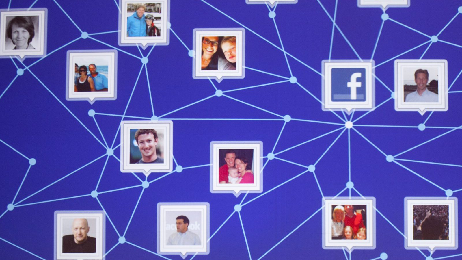 A graphic display of a Facebook network is shown at a Facebook event for marketing professionals, Wednesday, Feb. 29, 2012 in New York.   New, potentially lucrative advertising opportunities are coming to Facebook as a prelude to its initial public offering of stock. The idea is to lure big brands with the promise of effective, precisely targeted ads that reach the social network's 845 million users.