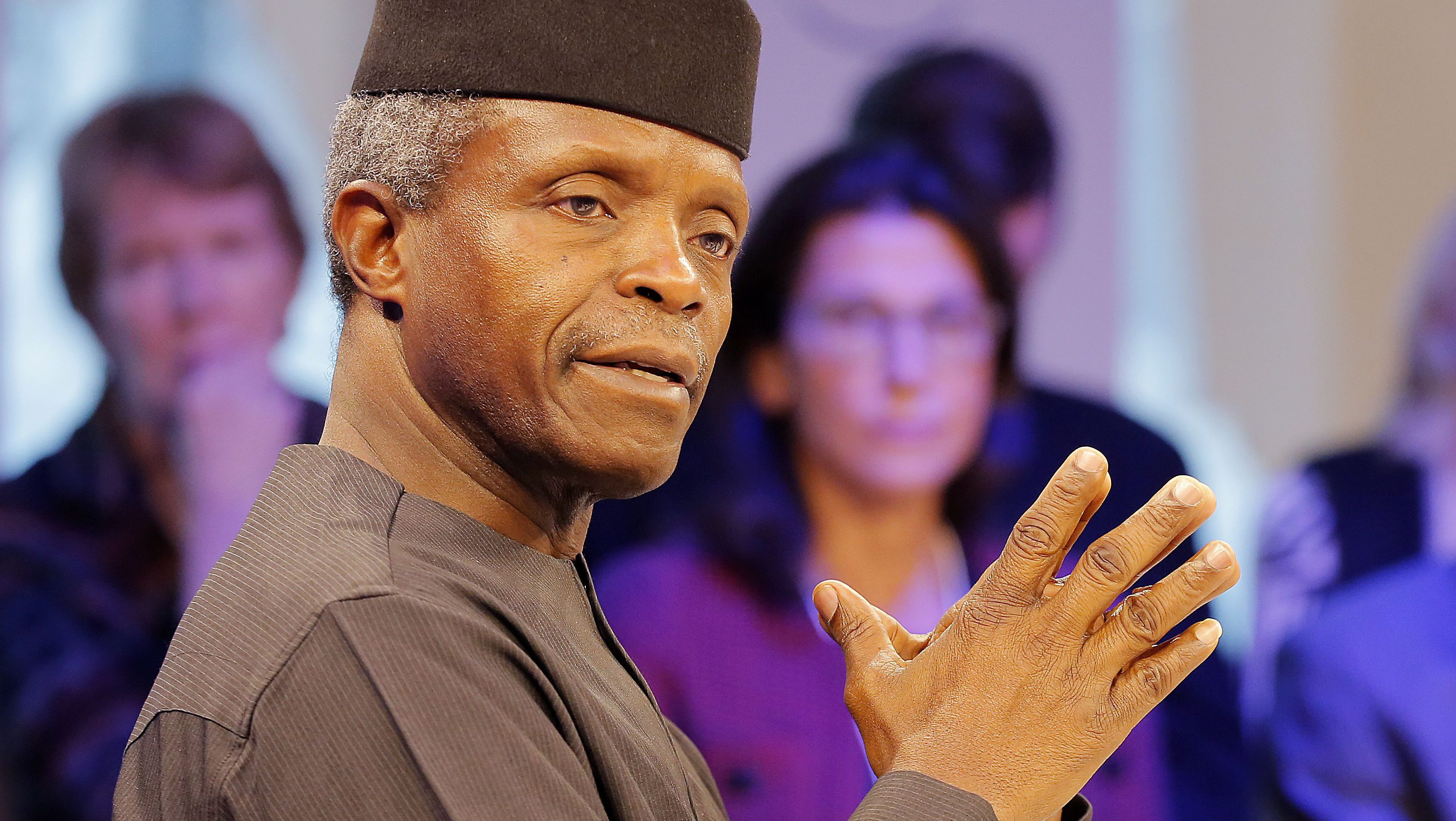 FILE- In this Tuesday, Jan.17, 2017 file photo, Nigeria's Vice President Yemi Osinbajo speaks at the World Economic Forum in Davos, Switzerland. When Nigerian President Muhammadu Buhari left for London on Jan. 19 on a month-long medical leave he handed power to Vice President Yemi Osinbajo, a 59-year-old lawyer and pastor who has been empowered to attack the country's problems with an energy that has surprised observers and led some to suggest he should stay in charge for good.
