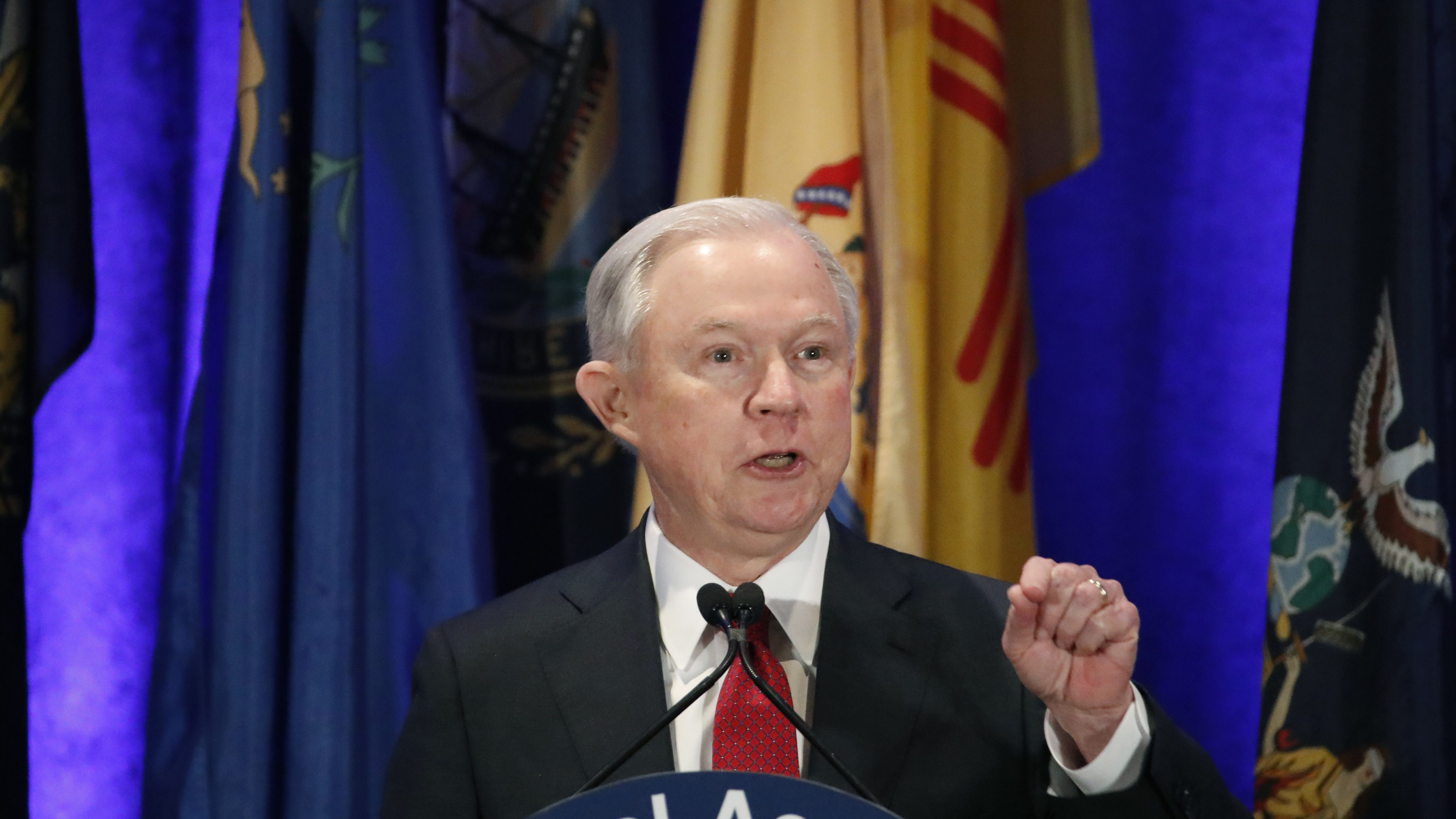 FILE - In this Tuesday, Feb. 28, 2017 file photo, Attorney General Jeff Sessions speaks at the National Association of Attorneys General annual winter meeting, in Washington. Sessions had two conversations with the Russian ambassador to the United States during the presidential campaign season last year, contact that immediately fueled calls for him to recuse himself from a Justice Department investigation into Russian interference in the election. The Justice Department said Wednesday night, March 1, 2017, that the two conversations took place last year when Sessions was a senator. (AP Photo/Alex Brandon, File)