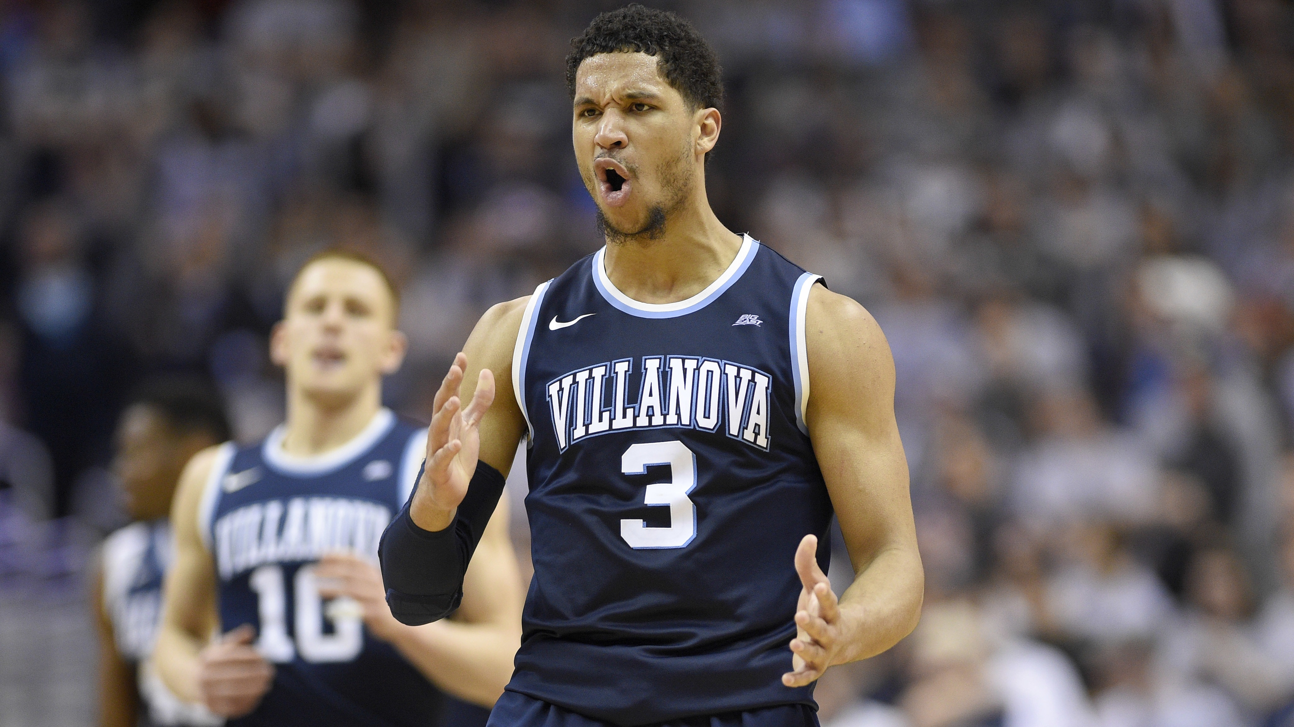 Villanova guard Josh Hart (3) reacts after he hit a 3-pointer during the second half of an NCAA college basketball game against the Georgetown, Saturday, March 4, 2017, in Washington. Villanova won 81-55. (AP Photo/Nick Wass)
