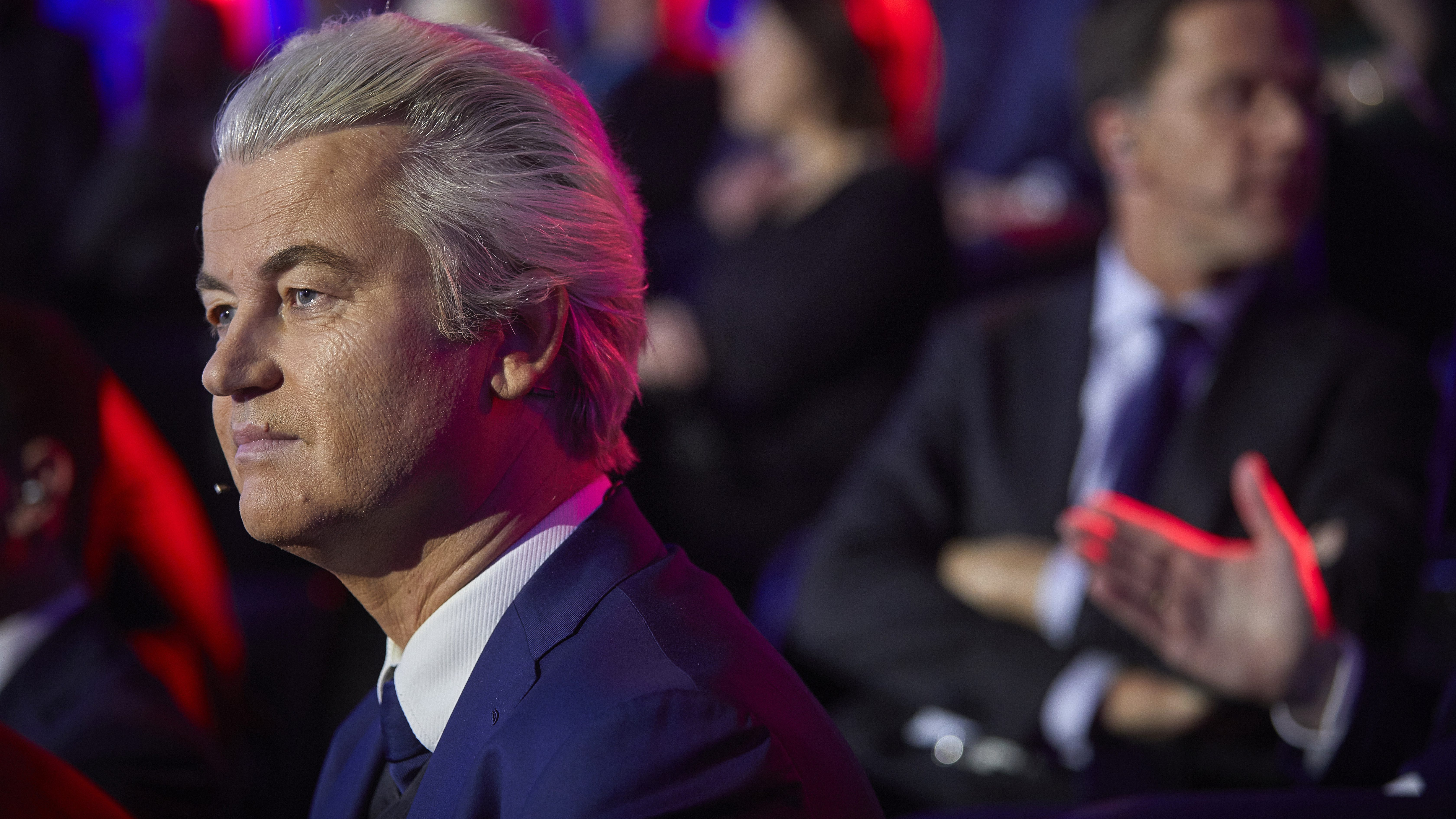 PVV party leader Geert Wilders waits to take his turn in the closing debate at parliament in The Hague, Netherlands, Tuesday, March 14, 2017. Amid unprecedented international attention, the Dutch go to the polls Wednesday in a parliamentary election that is seen as a bellwether for the future of populism in a year of crucial votes in Europe. (Phil Nijhuis HH POOL via AP)
