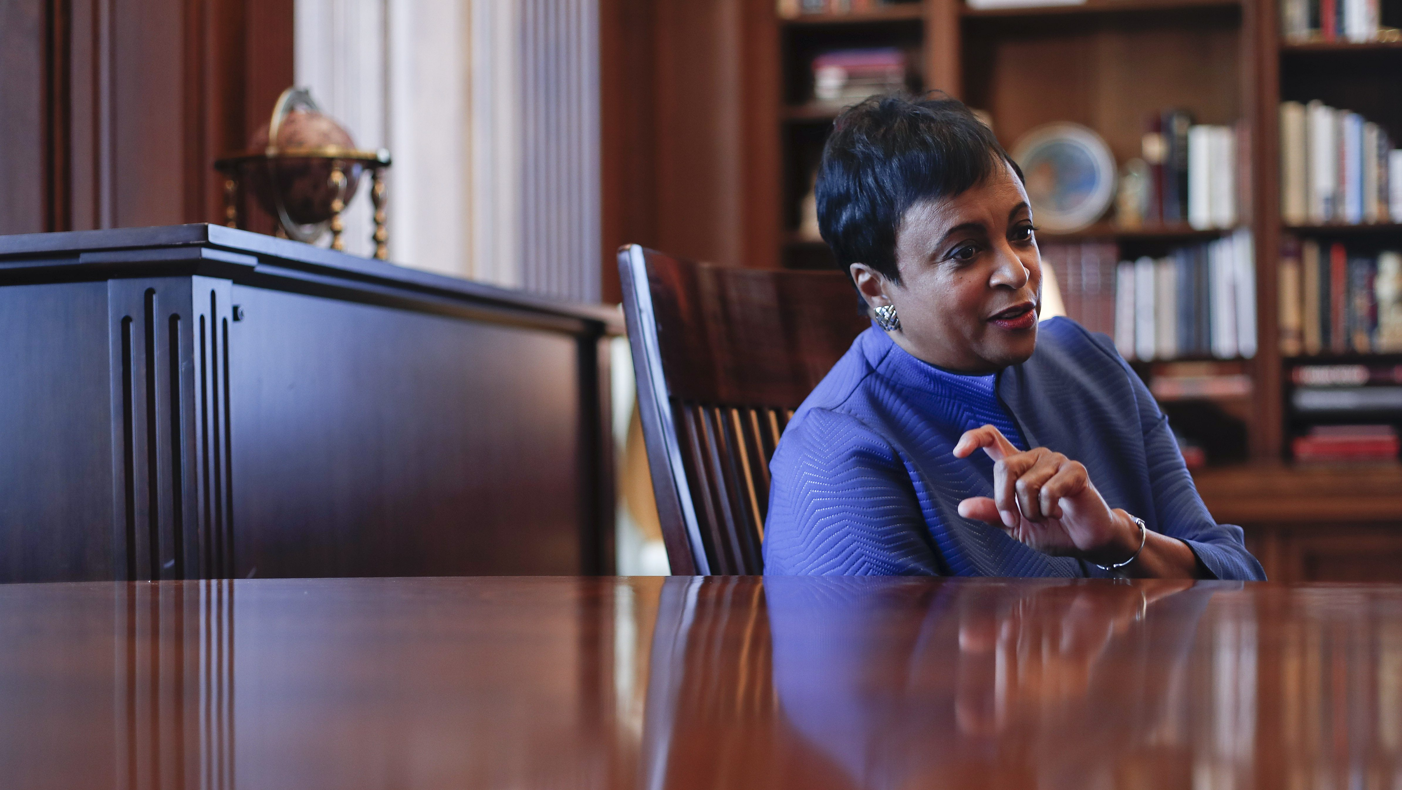 The 14th Librarian of Congress, Carla Hayden, during her interview with the Associated Press after a ceremony at the Library of Congress, where she took the oath of office, Wednesday, Sept. 14, 2016. Hayden, a former Chicago children's librarian, is the first woman and African American to serve in the role. (AP Photo/Pablo Martinez Monsivais)