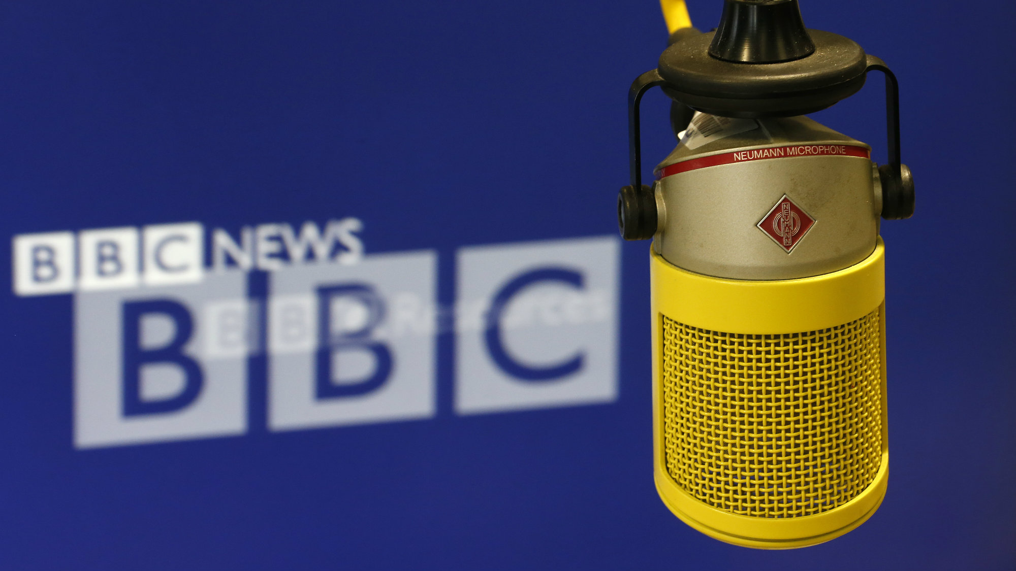The microphone that newsreader Iain Purdon used to deliver the final BBC World Service news bulletin from BBC Bush House is seen in central London July 12, 2012.
