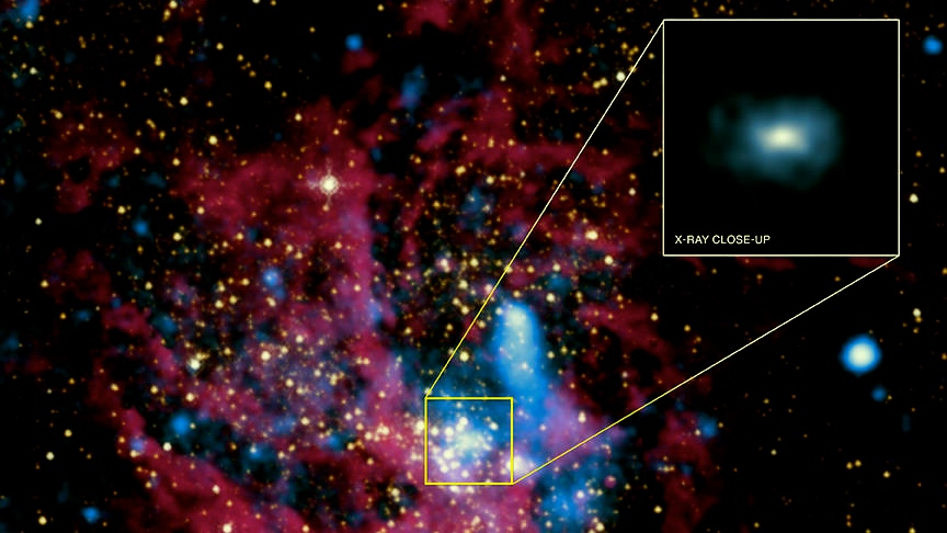 An X-ray and infrared image of hot gases surrounding a black hole.