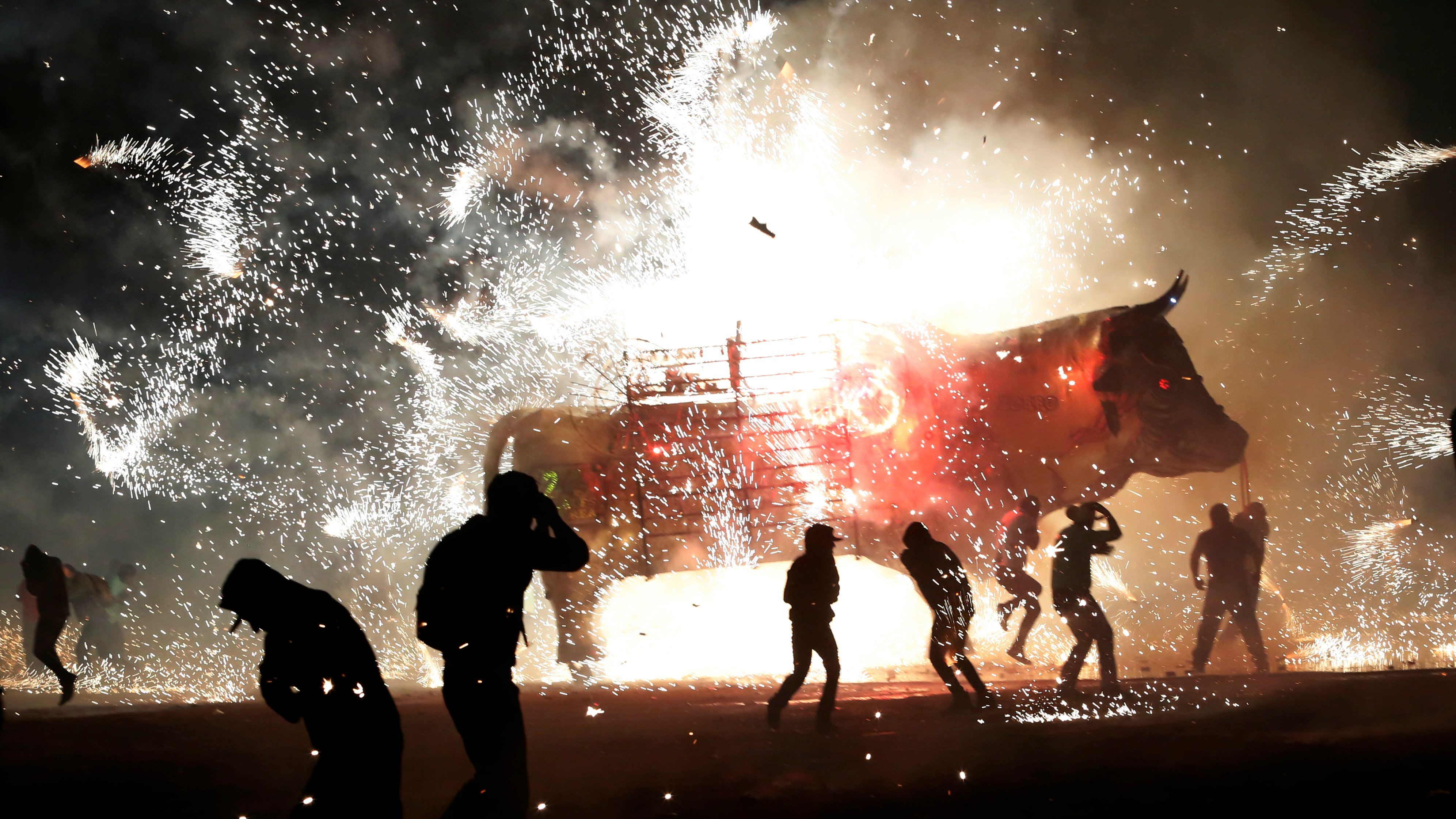 fireworks exploding from a traditional bull known as Torito in Mexico