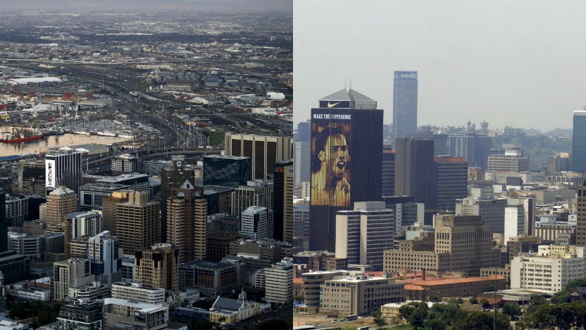 Left: Dusk descends as the city enjoys a respite from stormy winter weather in Cape Town (Reuters/Mike Hutchings)  Right: Cityscape of Johannesburg in South Africa a venue of the 2010 World Cup, February 18, 2010. The 2010 World Cup soccer finals will take place in South Africa from June 11 - July 11. WORLD CUP 2010 PREVIEW - CITYSCAPE REUTERS/Euroluftbild.de