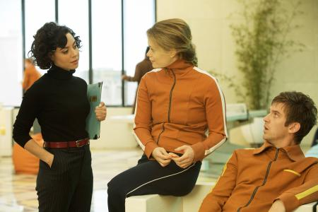 "LEGION -- ""Chapter 6"" – Season 1, Episode 6 (Airs Wednesday, March 15, 10:00 pm/ep) -- Pictured: (l-r) Aubrey Plaza as Lenny ""Cornflakes"" Busker, Rachel Keller as Syd Barrett, Dan Stevens as David Haller. CR: Michelle Faye/FX"