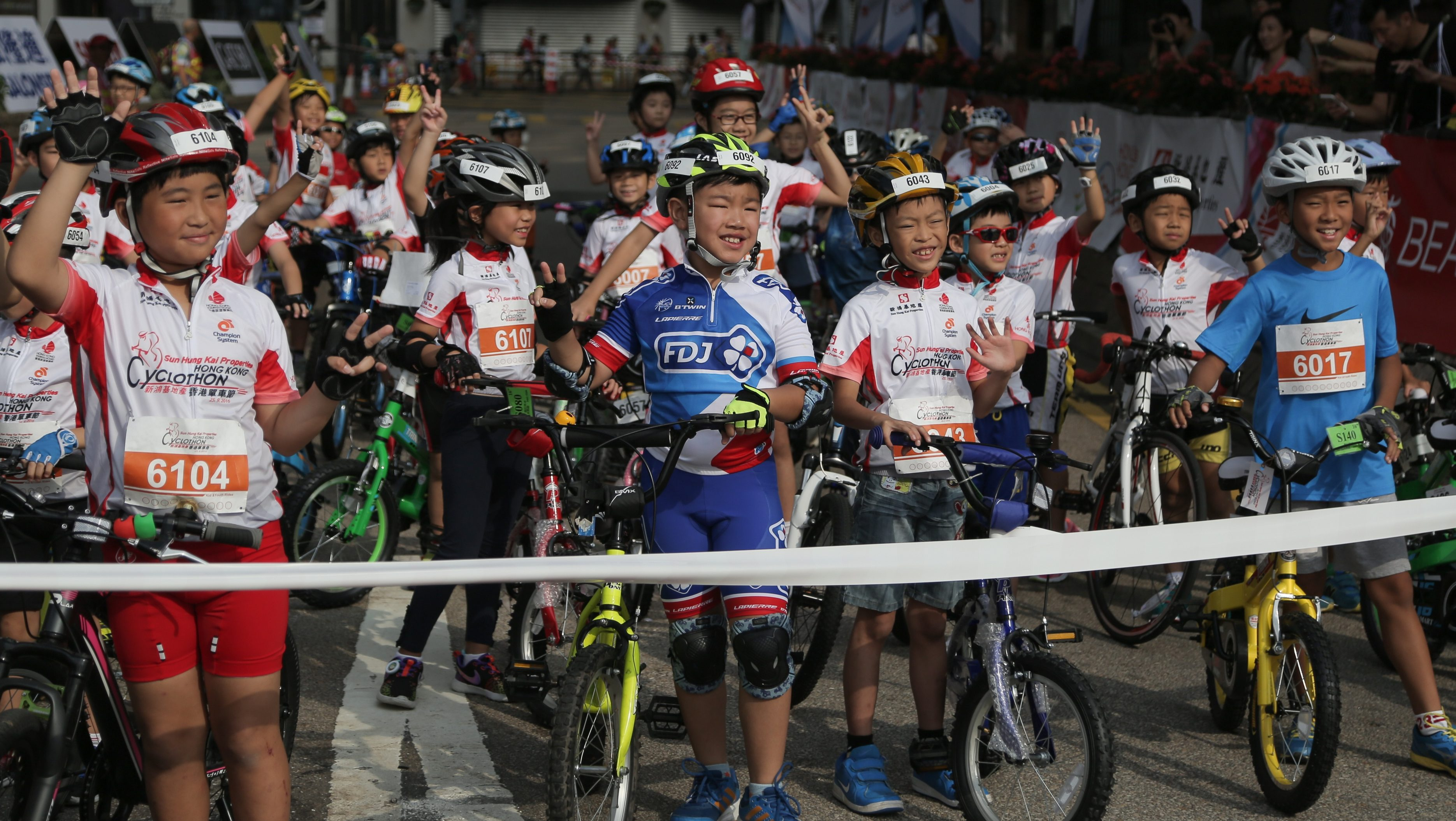 Cycling - Hong Kong Cyclothon 2016 - Hong Kong - 25/09/16 Children in action during the Kids and Youth Rides. The Hong Kong Cyclothon is the biggest cycling event in Hong Kong and features four races and five cycling activities.