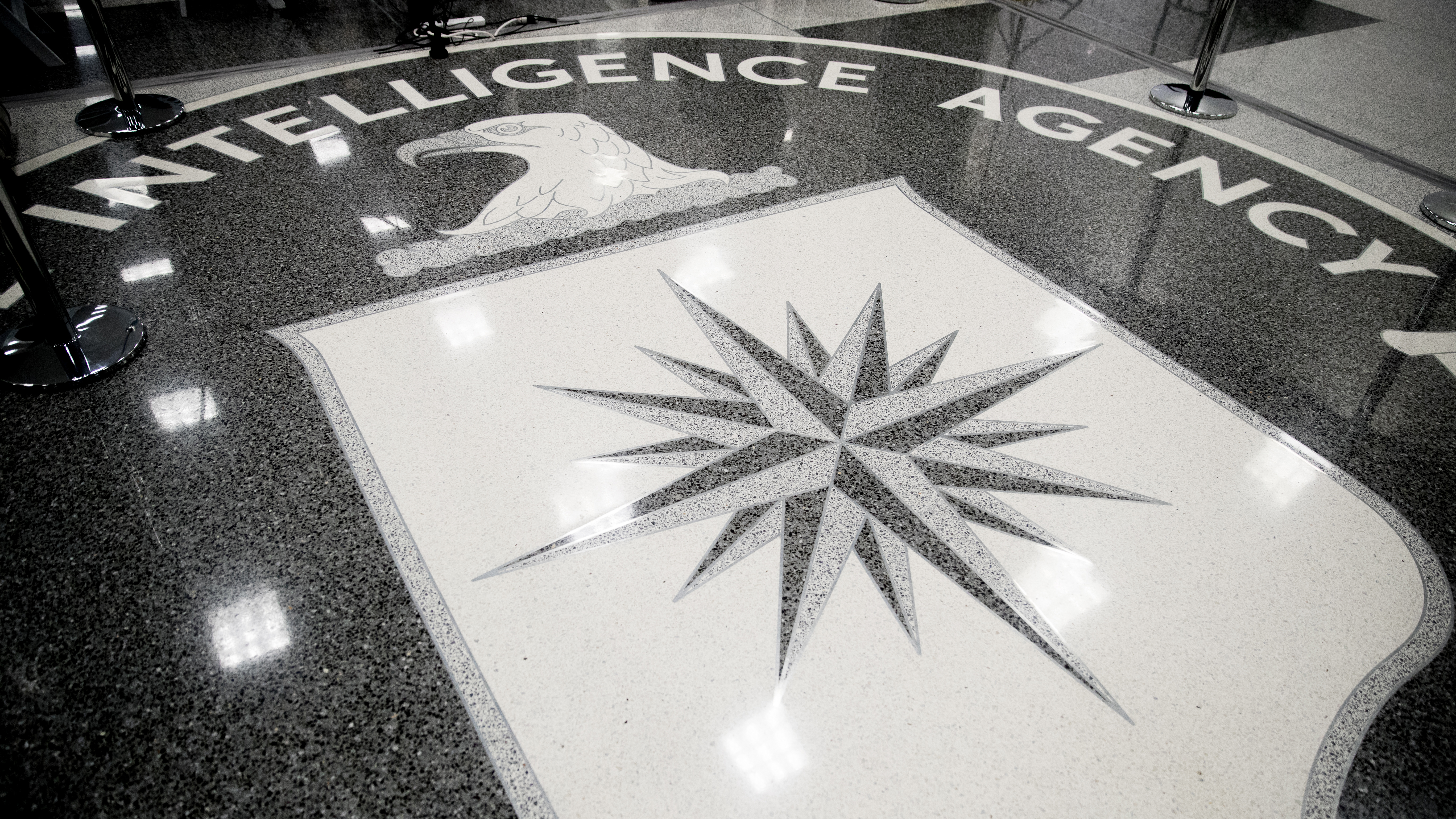 The floor of the main lobby of the Central Intelligence Agency in Langley, Va., Saturday, Jan. 21, 2017. (AP Photo/Andrew Harnik)