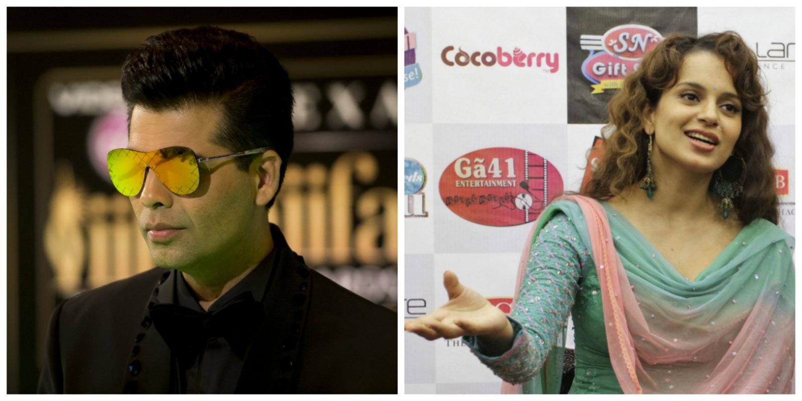 Bollywood director Karan Johar (L) and actress Kangana Ranaut.