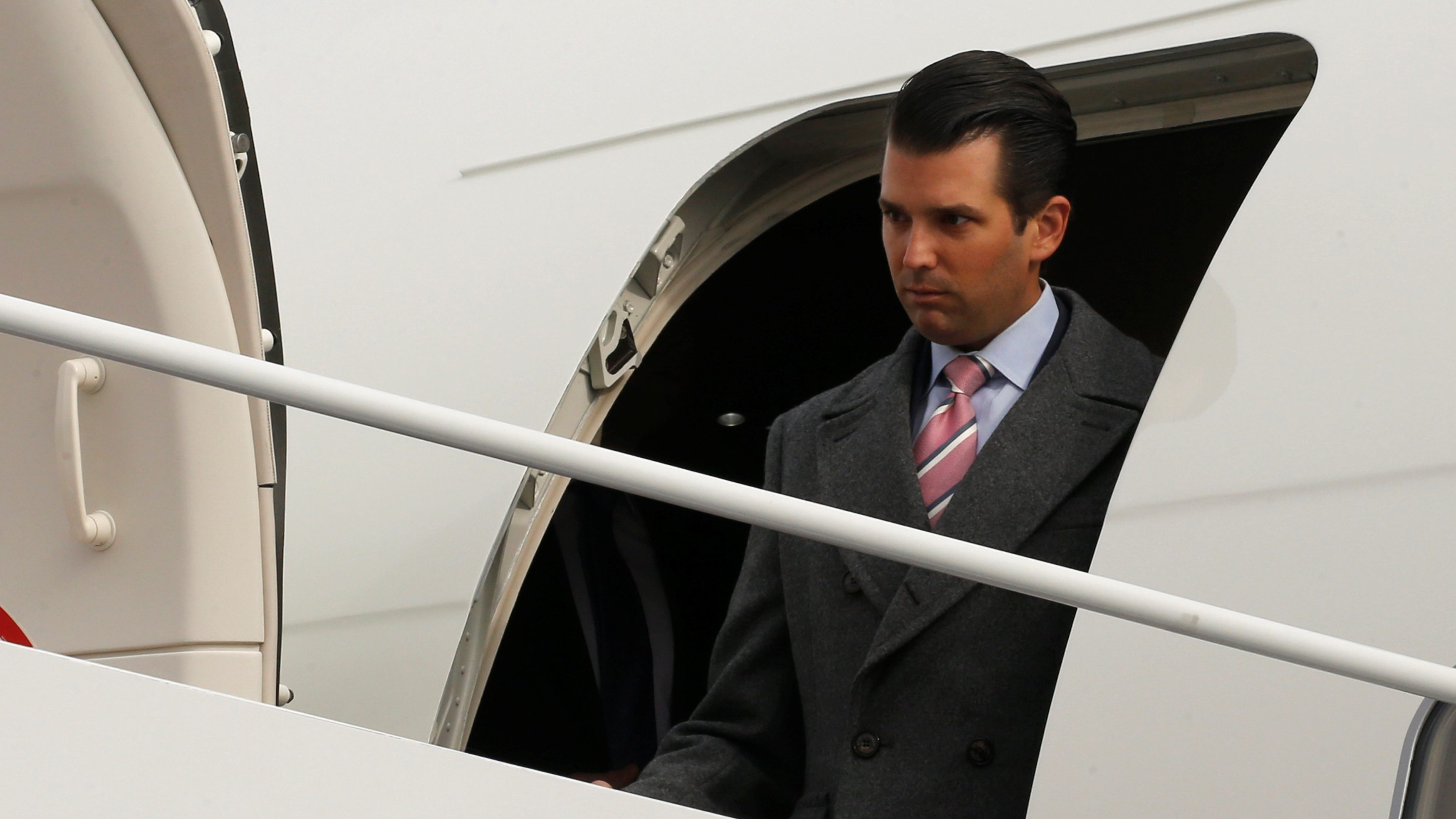 U.S. President-elect Donald Trump's son Donald Trump Jr. arrives ahead of the inauguration with his father aboard a U.S. Air Force jet at Joint Base Andrews, Maryland, U.S. January 19, 2017.
