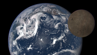 The moon passes between DSCOVR and the earth on July 15, 2016.