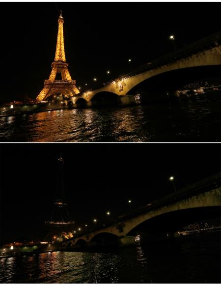 A combination picture shows the Eiffel Tower before (top) and during Earth Hour in Paris, France, March 25, 2017 as the lights are being switched off around the world at 8:30 p.m. on Saturday evening to mark the 10th annual Earth Hour and to draw attention to climate change.