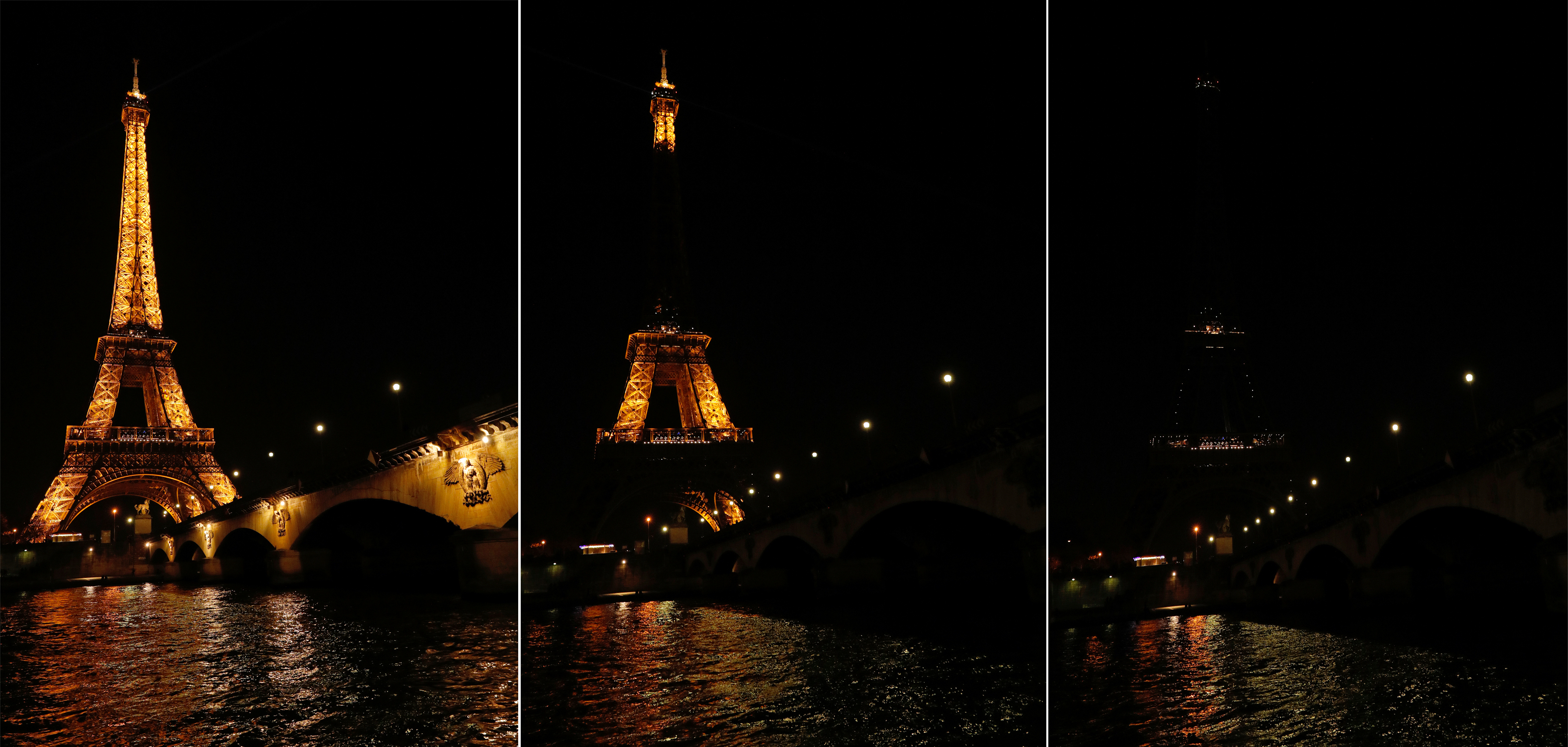A combo picture shows the Eiffel Tower before (L) and during Earth Hour in Paris, France, March 25, 2017 at which lights are switched off around the world at 8:30 p.m. on Saturday evening to mark the 10th annual Earth Hour and to draw attention to climate change.