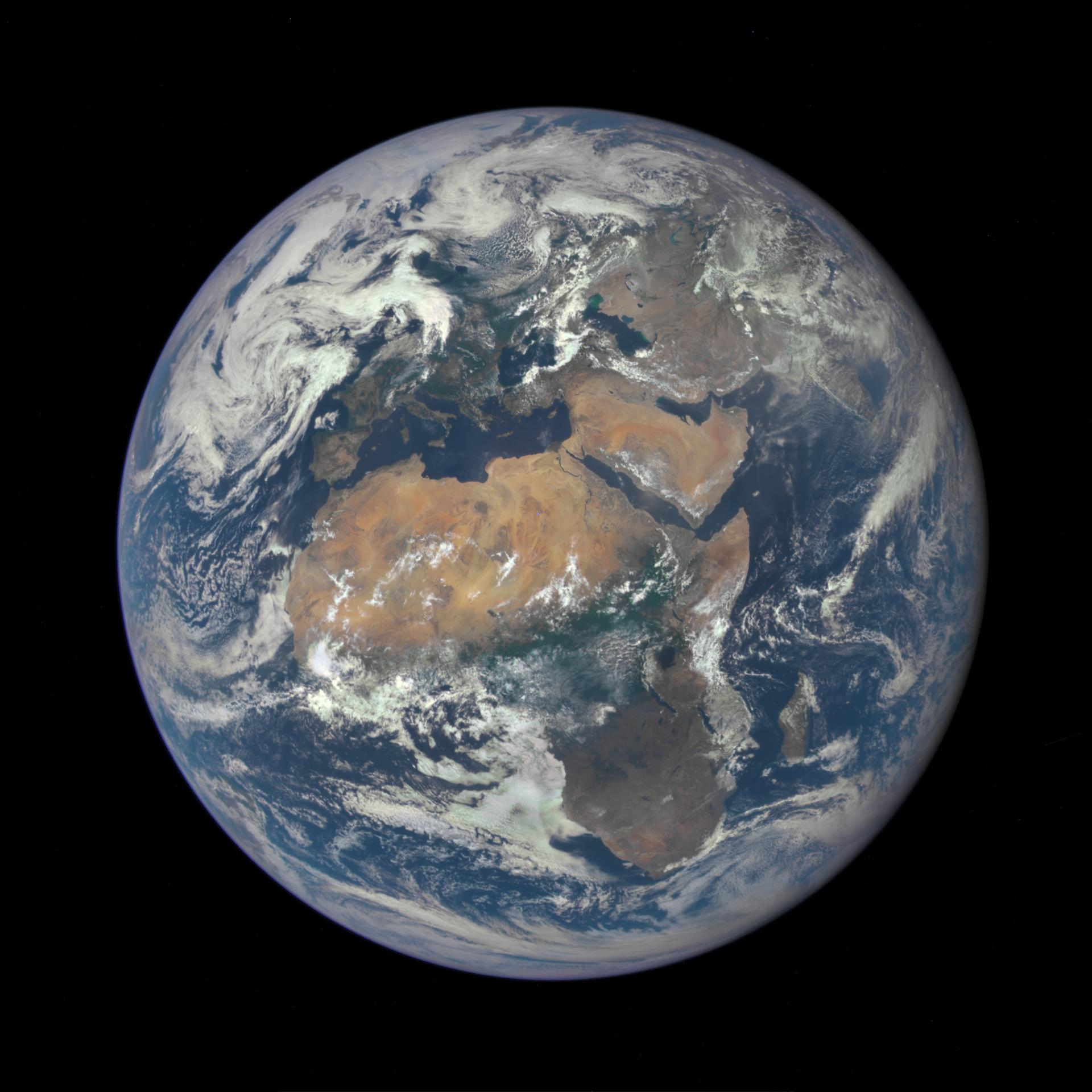 Africa shown in 2015, one million miles from Earth, in a picture taken by the Deep Space Climate Observatory satellite. The picture is a combination of three separate images of the entire Earth taken a few minutes apart.