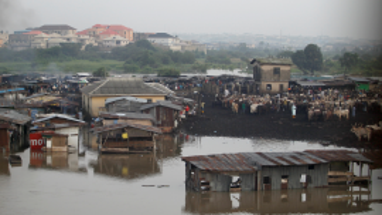 The Ogun river swallows the bank near a livestock market outside Nigeria's commercial capital, Lagos.