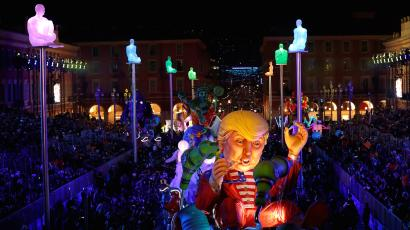 A float with a giant figure of US President Donald Trump is paraded at the Nice Carnival parade 2017.