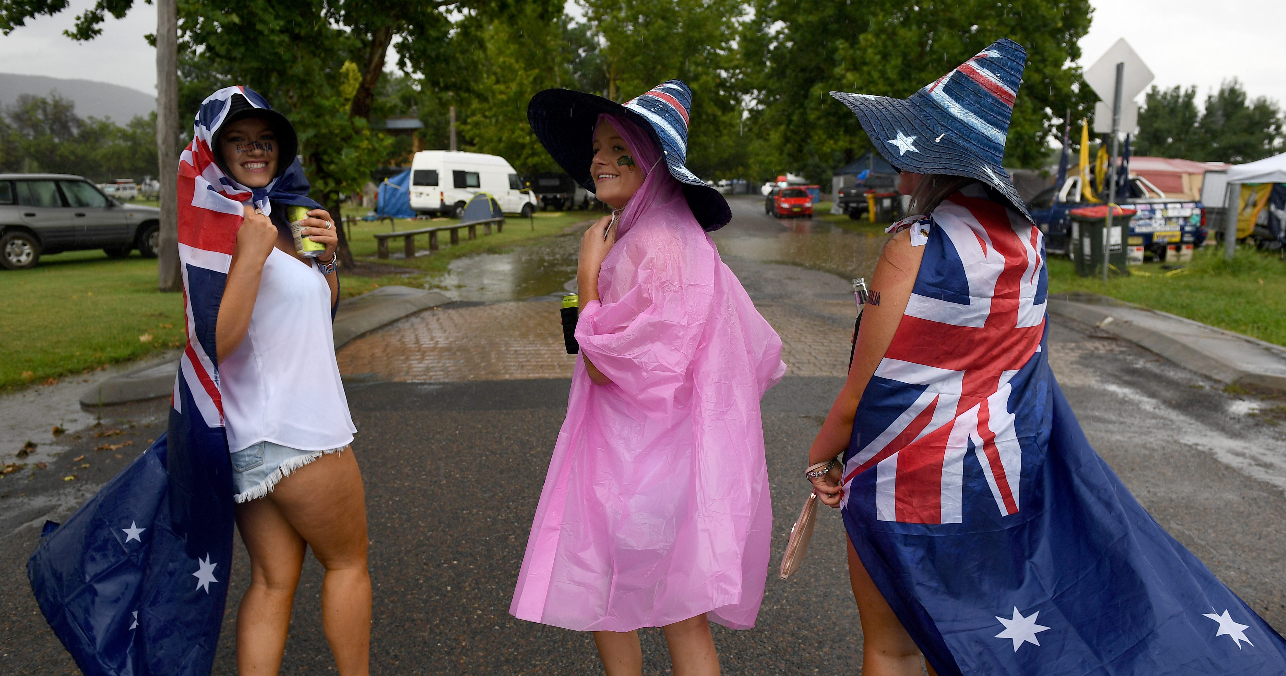 People celebrate Australia Day at the Tamworth Country Music Festival, in Tamworth, Australia, 26 January 2017.
