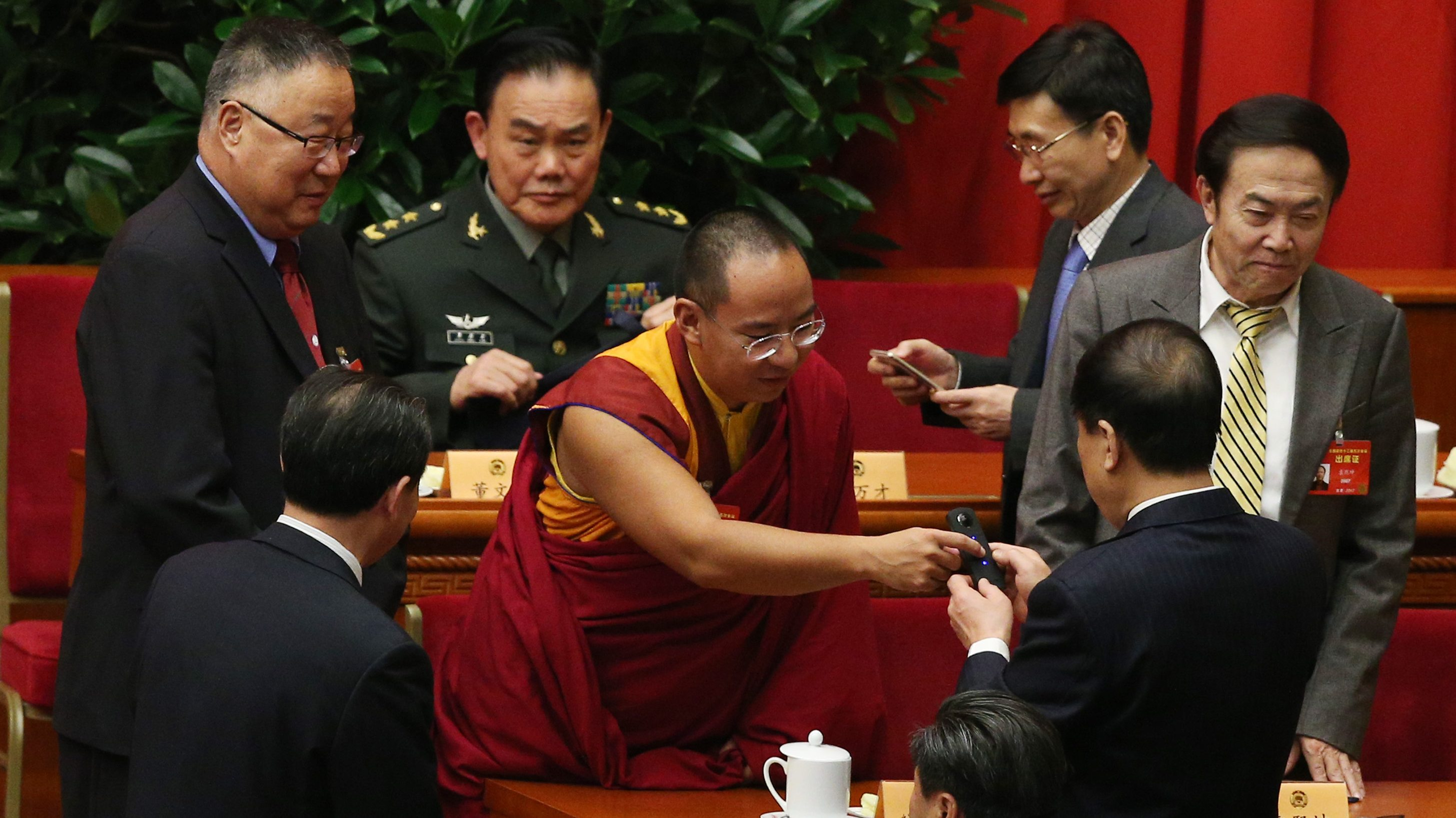 Gyaincain Norbu (C), the eleventh Panchen Lama of Tibetan Buddhism, arrives for the opening of the fifth session of the 12th Chinese People's Political Consultative Conference (CPPCC) National Committee at the Great Hall of the People (GHOP) in Beijing, China, 03 March 2017. The CPPCC is the top advisory body of the Chinese political system and runs alongside the annual plenary meetings of the 12th National People's Congress (NPC), together known as 'Lianghui' or 'Two Meetings'.