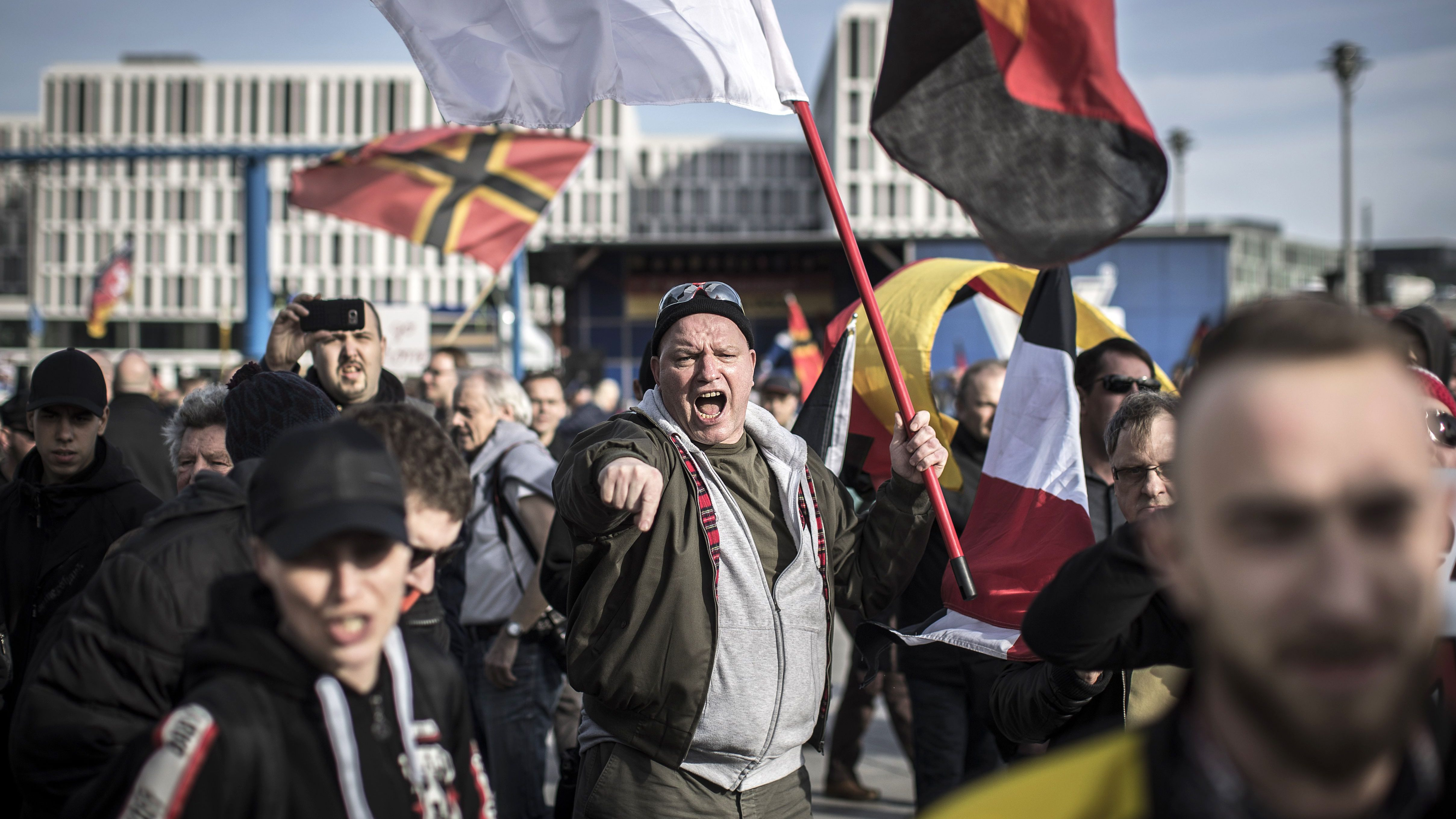 A far-right demonstration in Berlin, Germany, 04 March 2017.