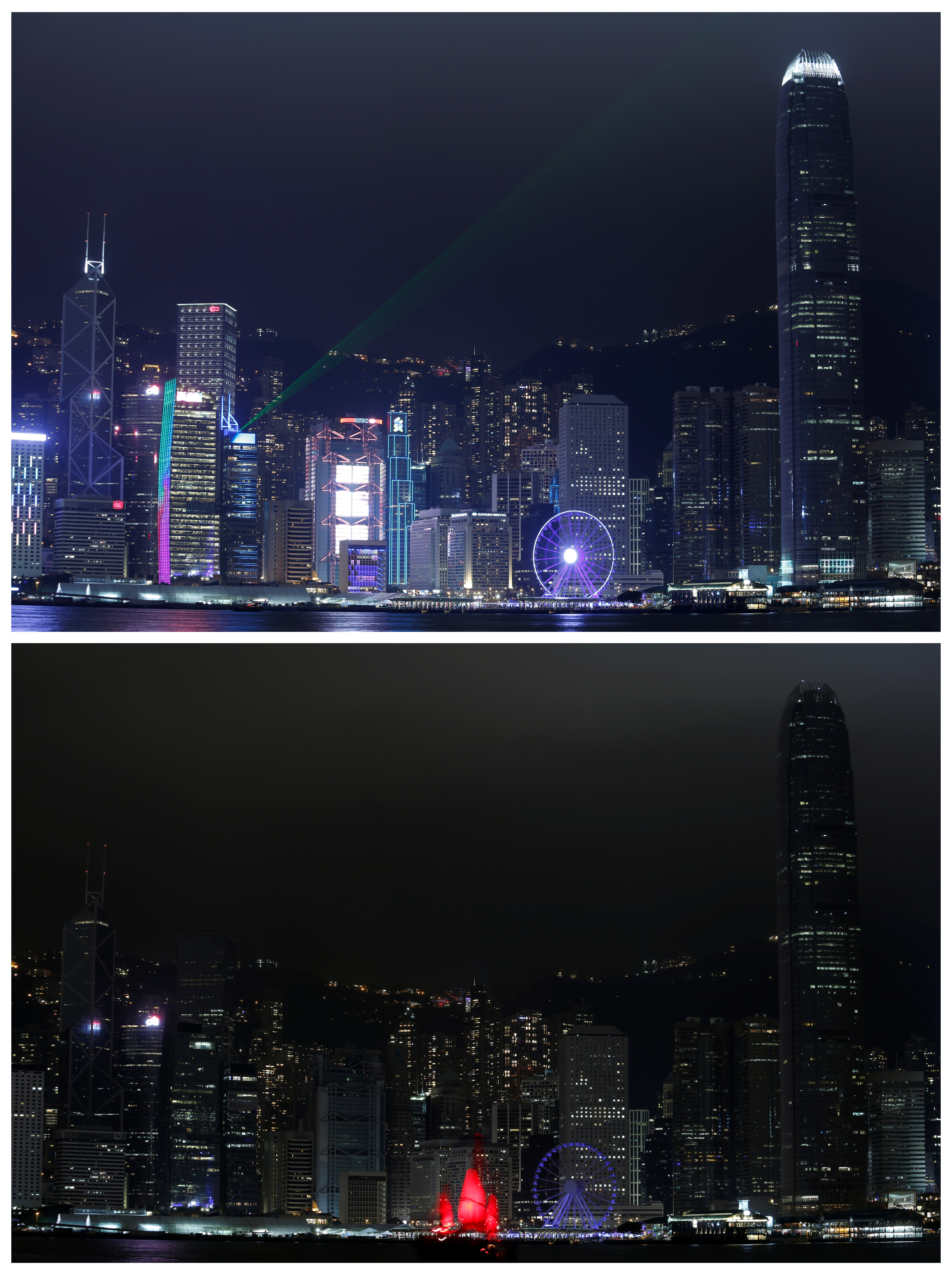A combination picture showing laser light beams as buildings are lighted up and a tourist junk sailing past before (top) and during (bottom) Earth Hour, at the financial Central district in Hong Kong, China March 25, 2017.