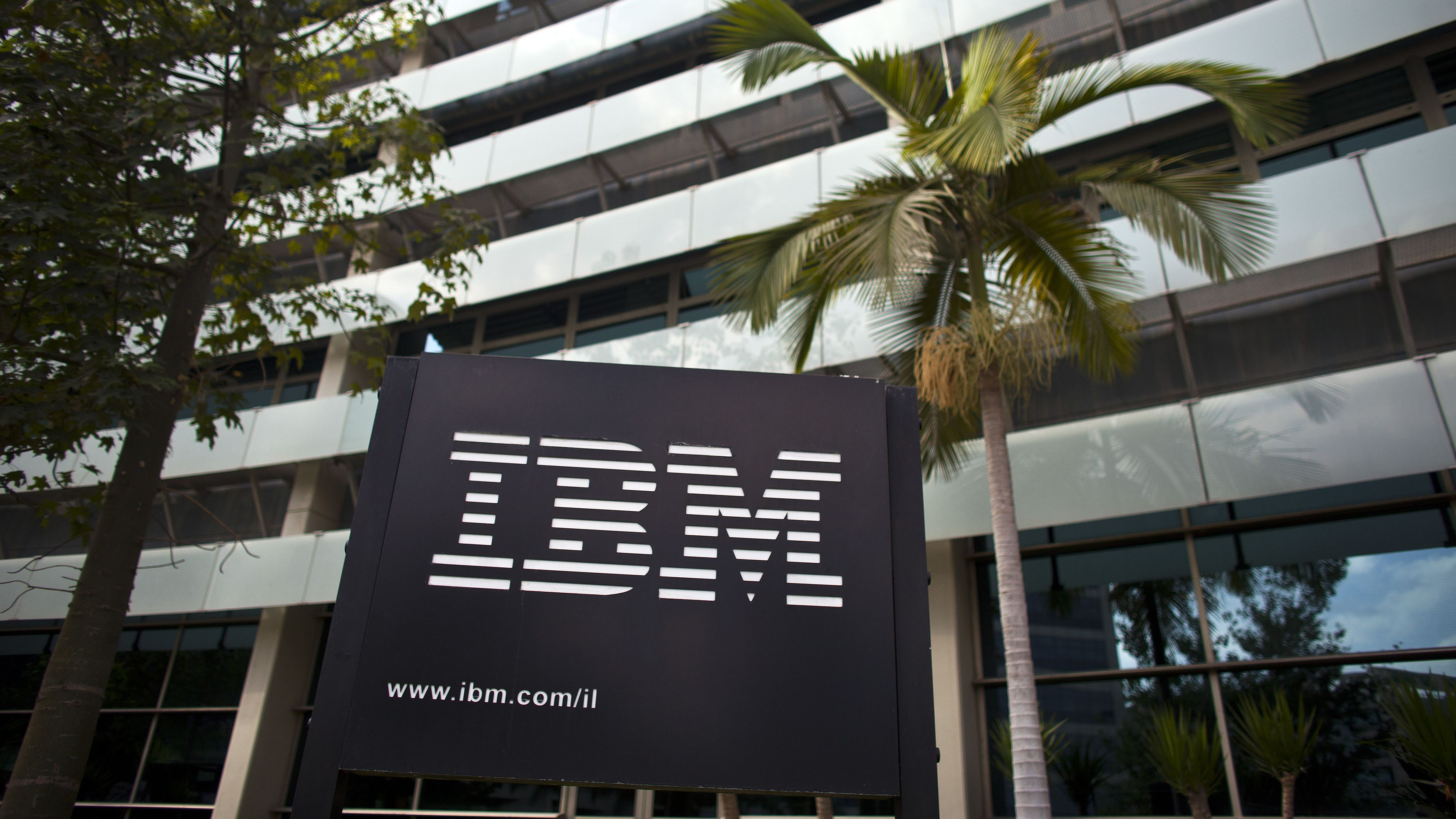 The IBM logo is seen outside the