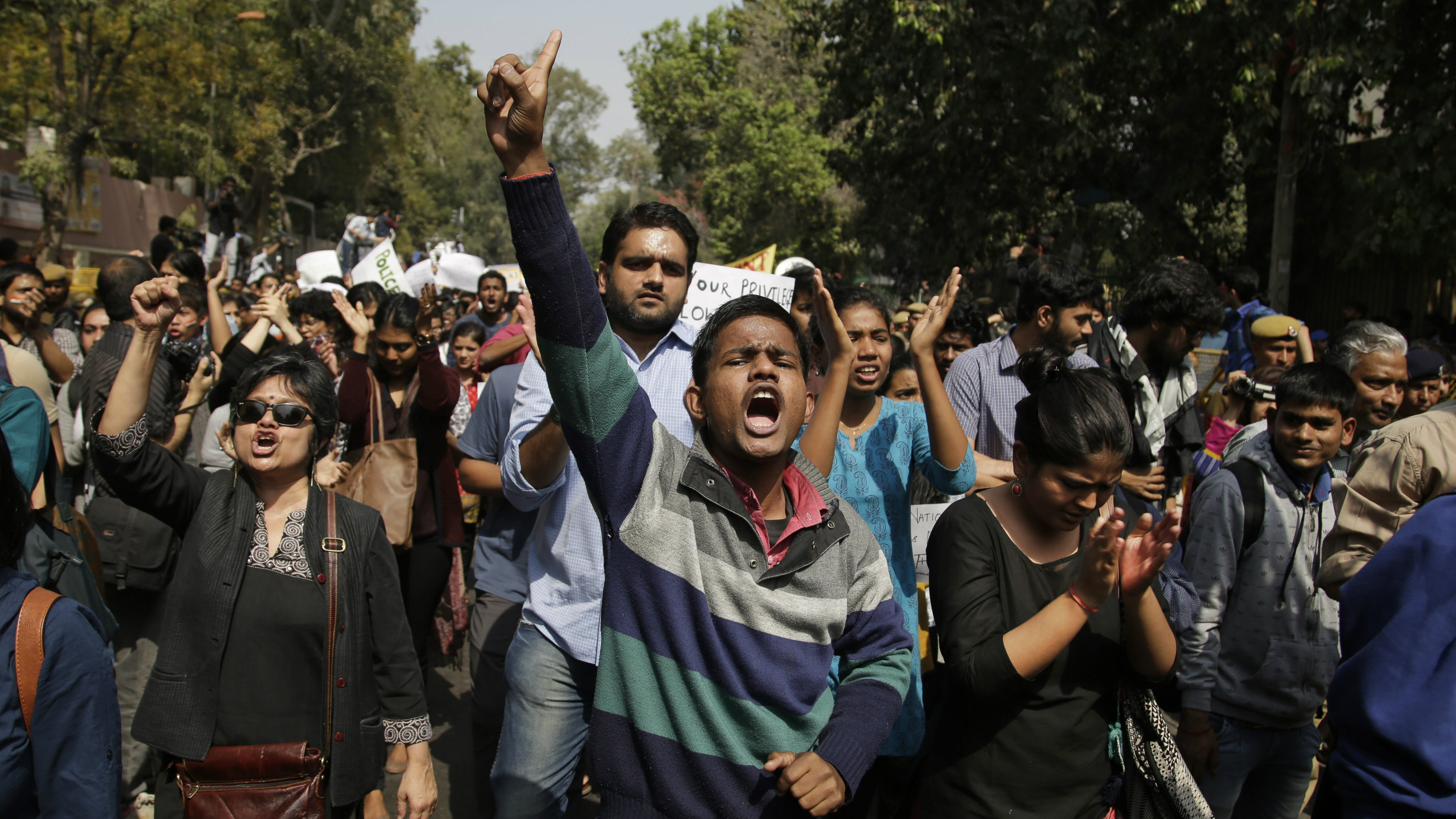 Indian college students participate in a protest rally against the Akhil Bharatiya Vidyarthi Parishad (ABVP), the students wing of the ruling Bharatiya Janata Party, after the group was accused of attacking students and faculty members at Delhi university in New Delhi, India, Tuesday, Feb. 28, 2017.