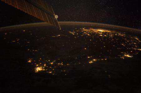 South Africa is captured at night in 2014 from the International Space Station.