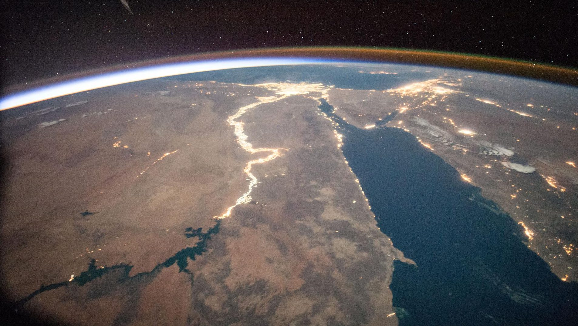 The Nile river in Africa sparkles in this night observation taken by NASA astronaut Scott Kelly on July 27, 2015.