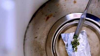 Marijuana flakes inspected in a lab.