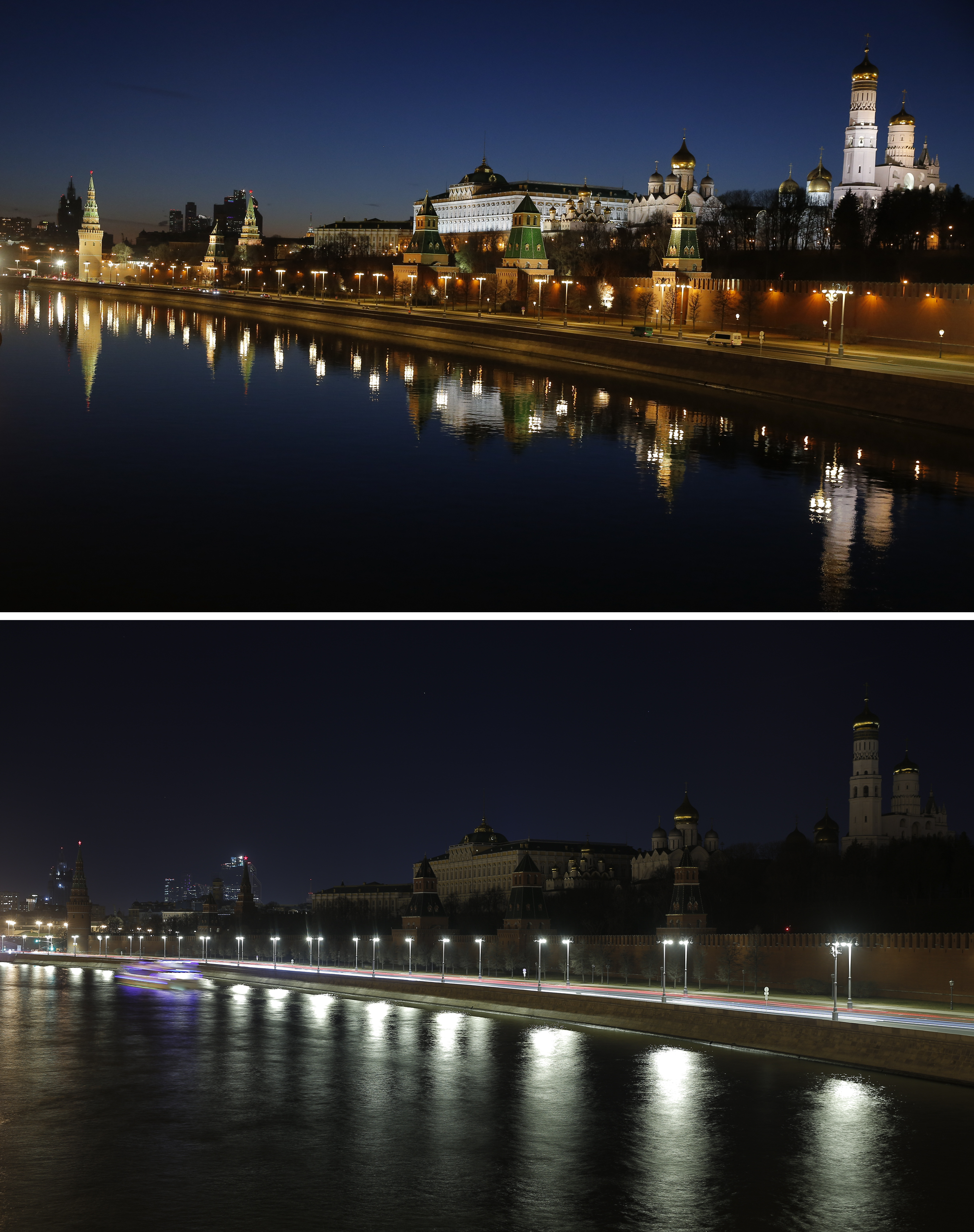A combination photo shows the Kremlin during Earth Hour (bottom) and after the lights were switched on in central Moscow, Russia, March 25, 2017.