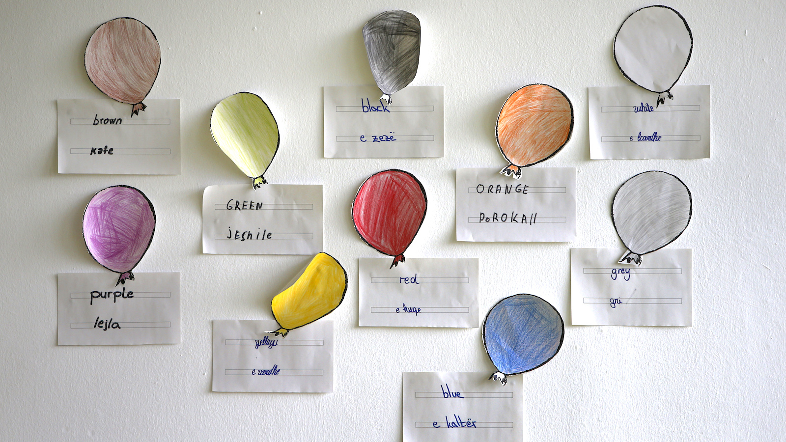 Drawings of balloons in different colours are seen in classroom