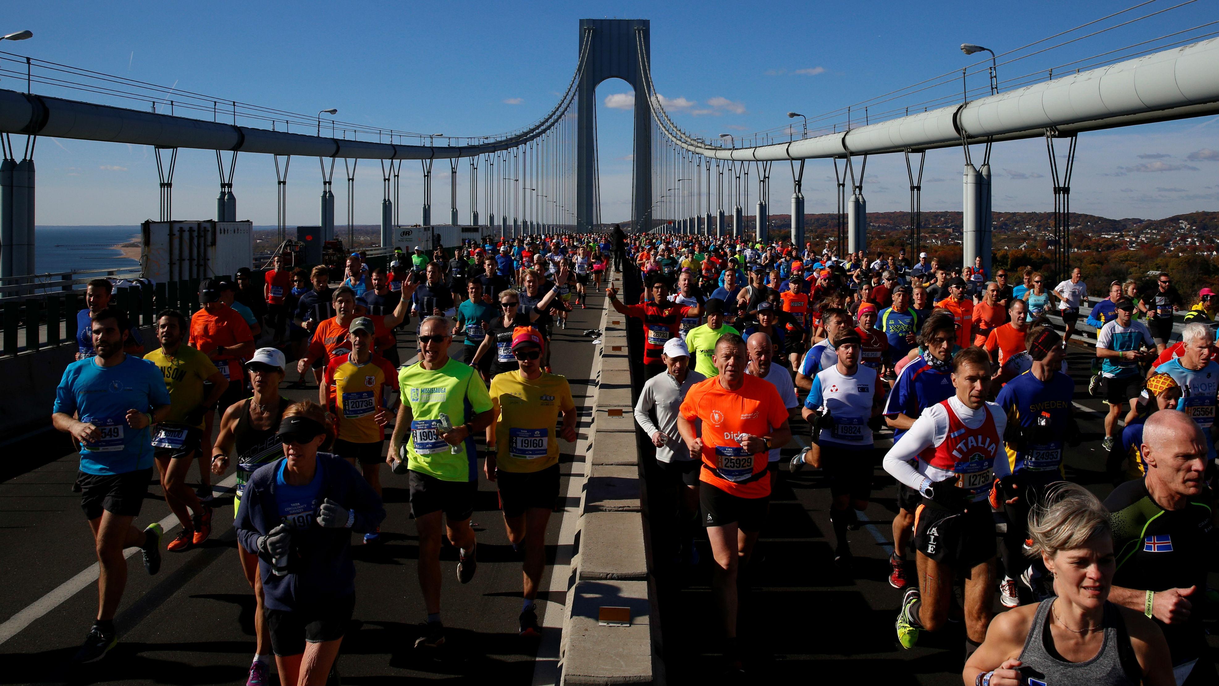 Runners cross the Verrazano–Narrows Bridge during the 2016 New York City Marathon in Manhattan.