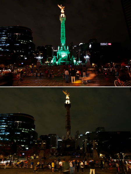 "The ""Angel de la Independencia"" monument before (top) and after the lights were turned off for Earth Hour in Mexico City, Mexico, March 25, 2017."