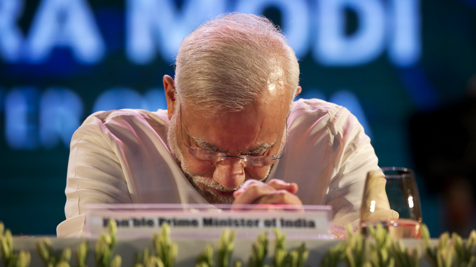 Indian Prime Minister Narendra Modi, pauses during the launch of digital India project in New Delhi, India, Wednesday, July 1, 2015. The initiative involves creating opportunities for all Indian citizens by harnessing digital technologies, to empower every citizen with access to digital services, knowledge and information.
