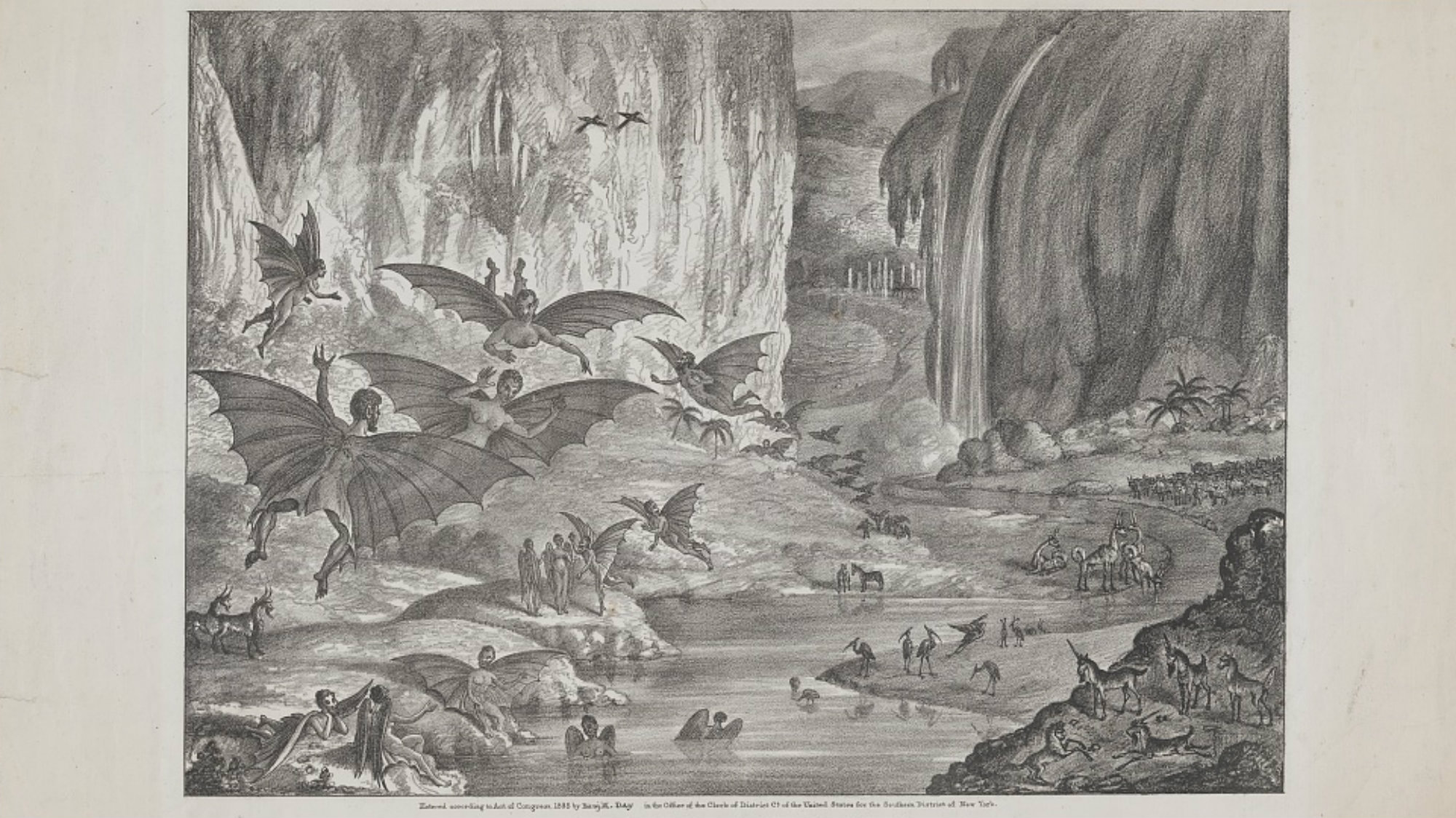 Lunar animals and other objects Discovered by Sir John Herschel in his observatory at the Cape of Good Hope and copied from sketches in the Edinburgh Journal of Science.