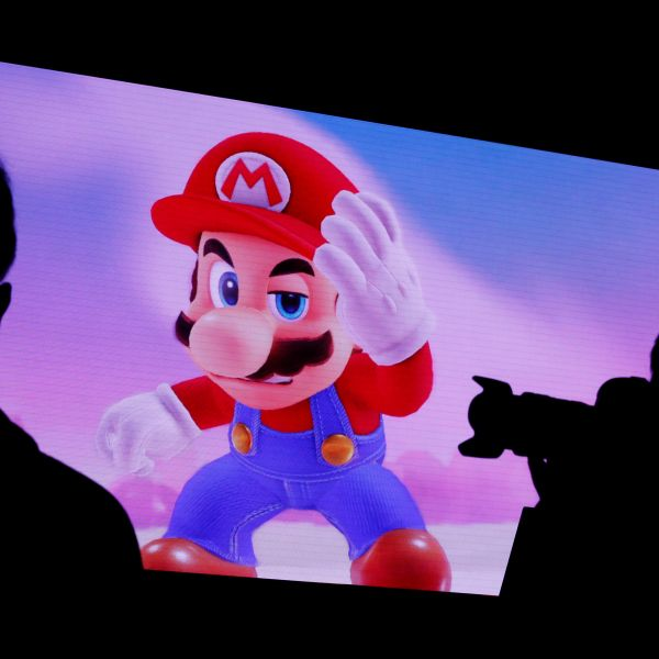 Nintendo's game character Super Mario is seen on a screen at the presentation ceremony of Nintendo's new game console Switch in Tokyo, Japan January 13, 2017. REUTERS/Kim Kyung-Hoon