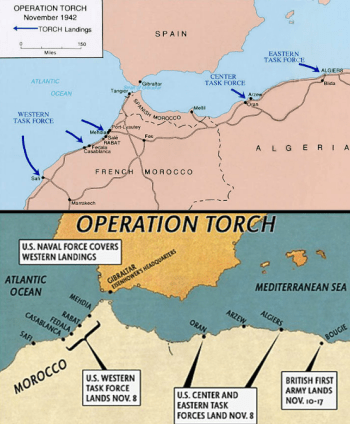 "Top: a US Army map of the real-life Operation Torch; Bottom: an in-game map of the Operation Torch in the ""Medal of Honor"" videogame"