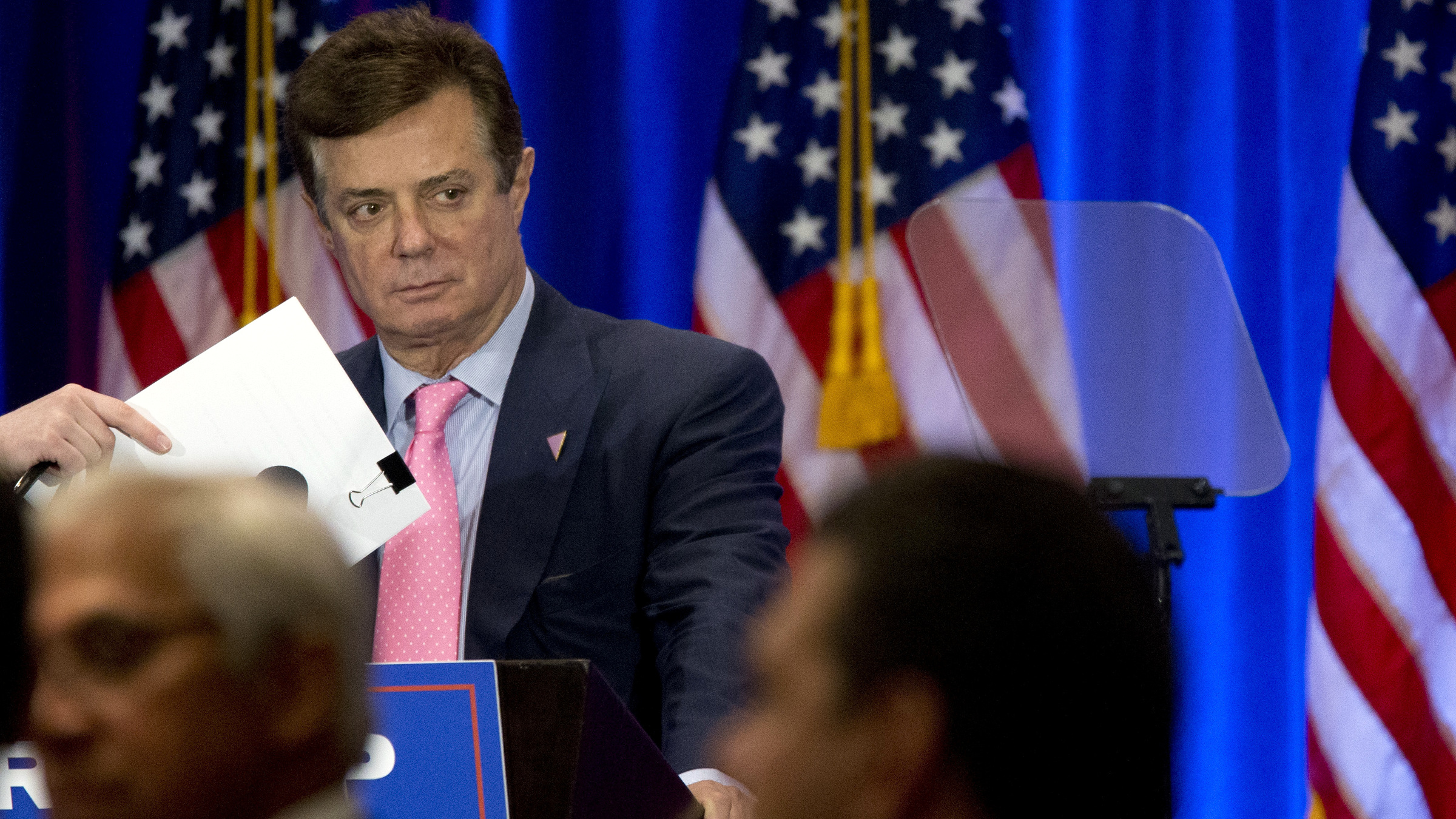 In this June 22, 2016 photo Paul Manafort appears on stage ahead of Republican presidential candidate Donald Trump, Wednesday, June 22, 2016, in New York.