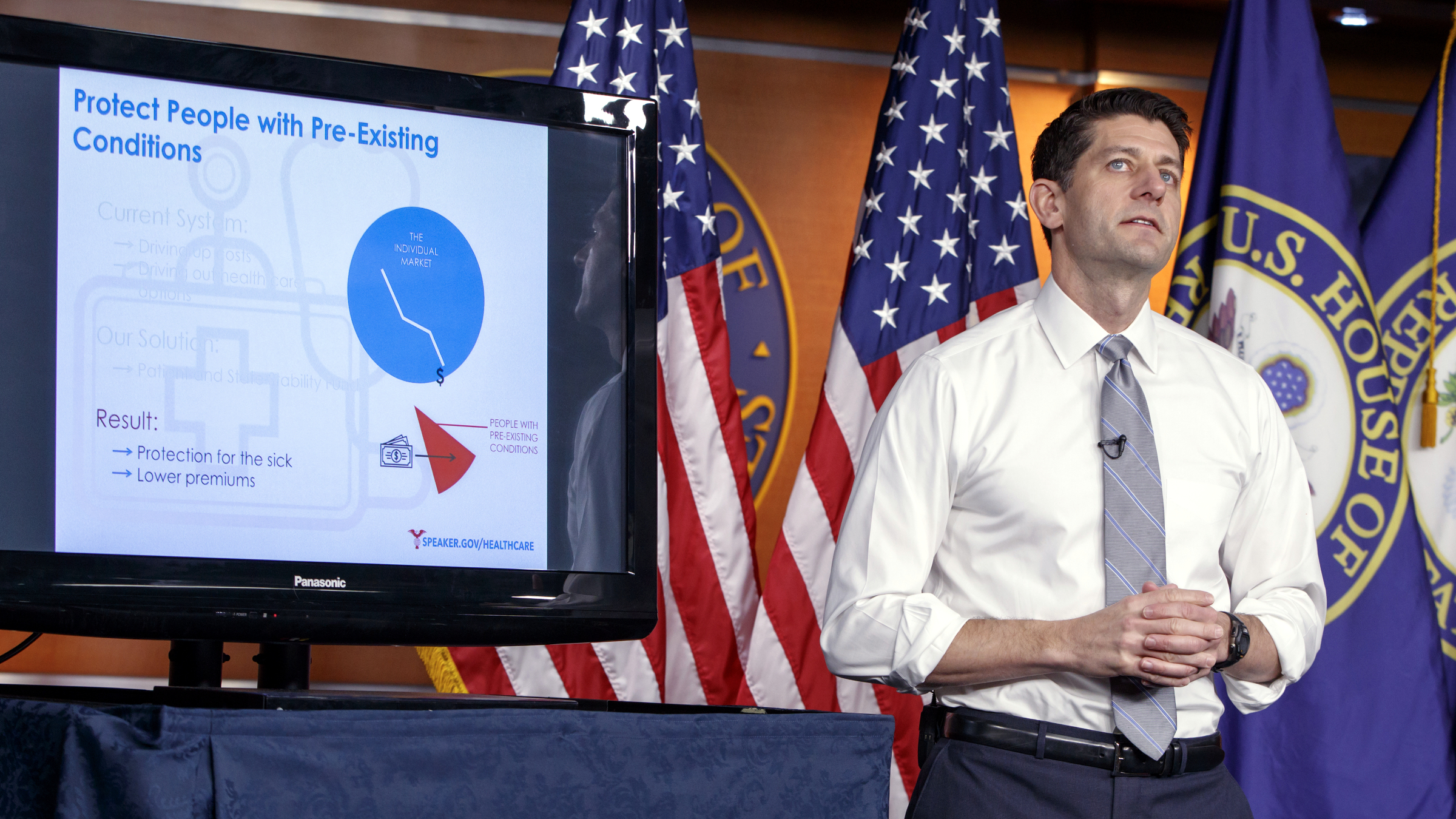 Speaker of the House Paul Ryan, R-Wis., uses charts and graphs to make his case for the GOP's long-awaited plan to repeal and replace the Affordable Care Act, during a news conference on Capitol Hill in Washington, Thursday, March 9, 2017.