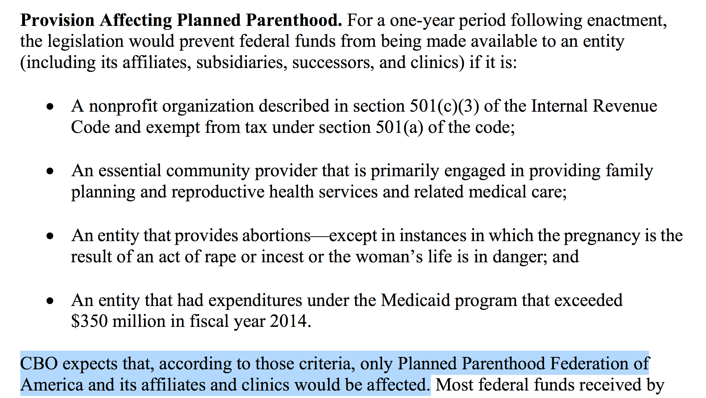 Excerpt from CBO report on Planned Parenthood budget defunding.