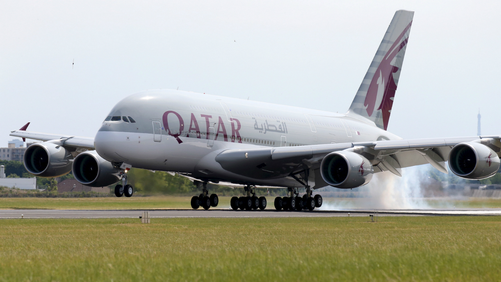 A Qatar Airways Airbus A380, the world's largest jetliner touches down at Le Bourget airport one day before the opening of the 51st Paris Air Show, June 14, 2015.