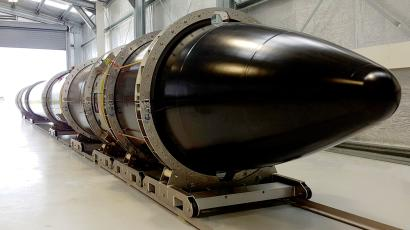 The Electron rocket at rest at Rocket Labs' New Zealand launch site.