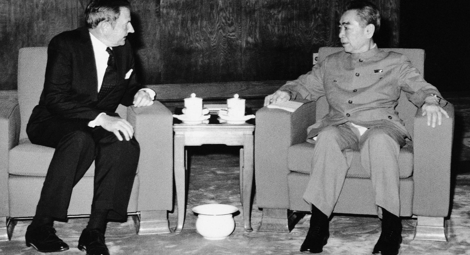 FILE - In this June 1973, file photo, David Rockefeller, left, meets with with Chinese Premier Chou En-lai in Peking. The billionaire philanthropist who was the last of his generation in the famously philanthropic Rockefeller family died Monday, March 20, 2017, according to a family spokesman.